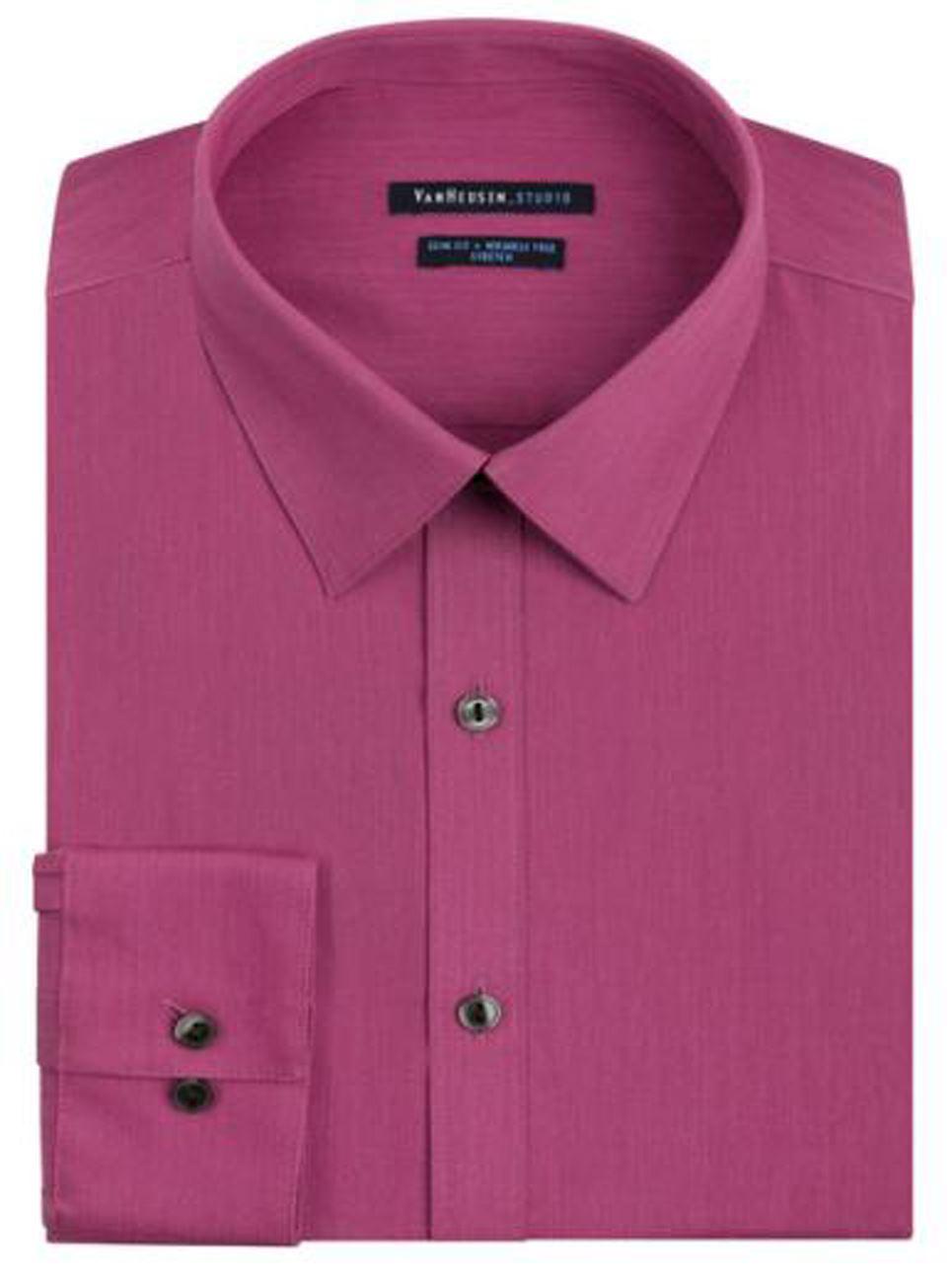 Mens shirt van heusen slim fit cotton rich easycare solid for Van heusen dress shirts