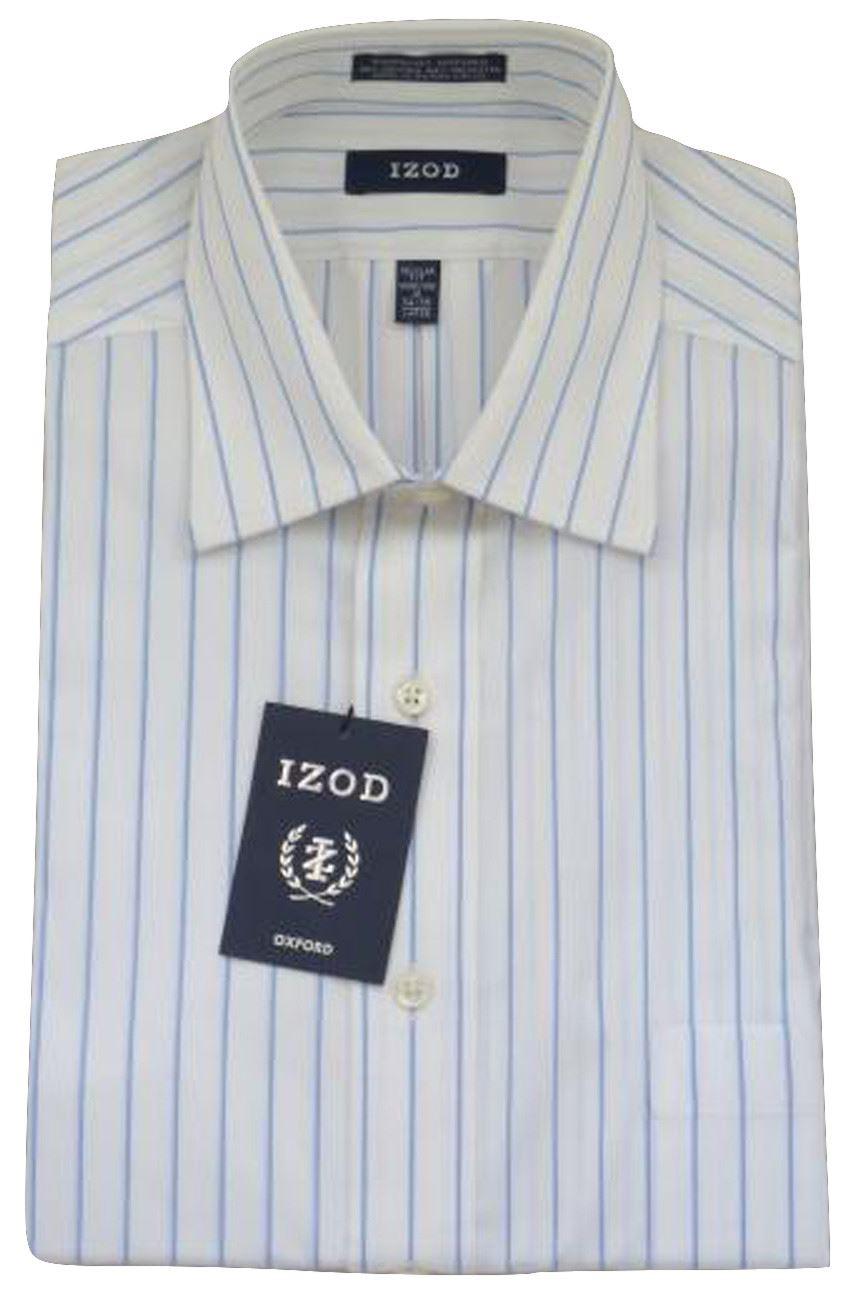 Mens Shirt Izod Slim Fit Cotton Rich Easy Iron Long Sleeve