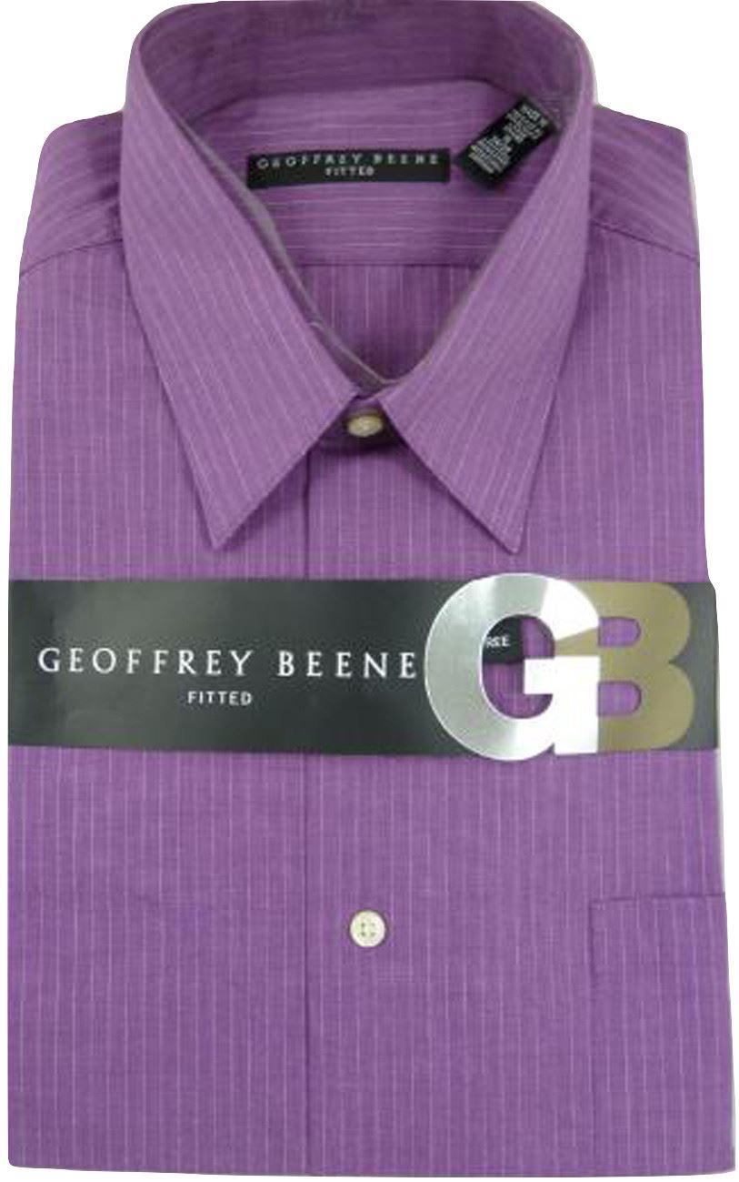 Geoffrey Beene Mens Sateen Fitted Solid Spread Collar Dress Shirt