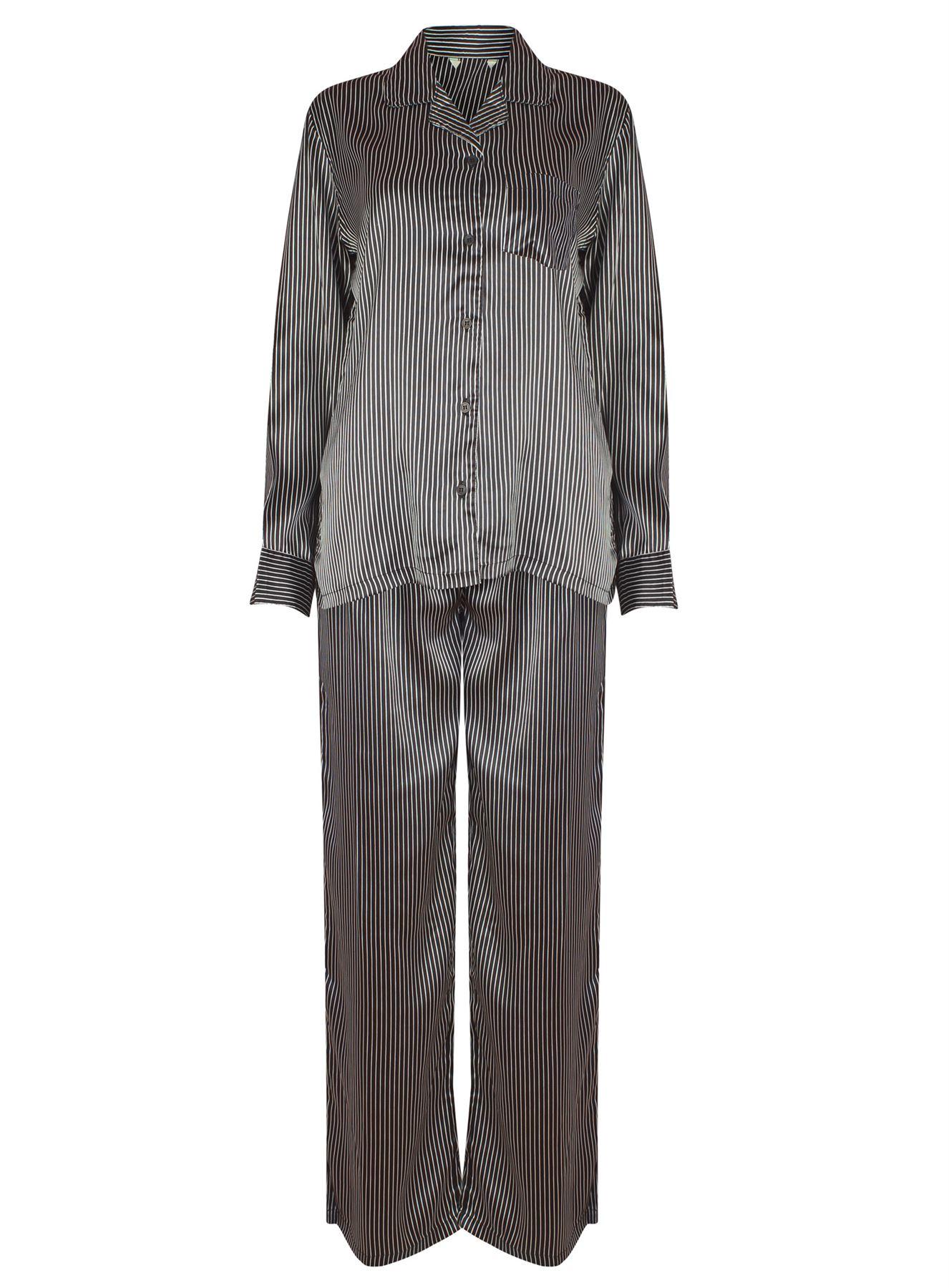 Womens Pyjamas 2pc Black Stripe Satin Revere Long Sleeve PJs Loungewear Set