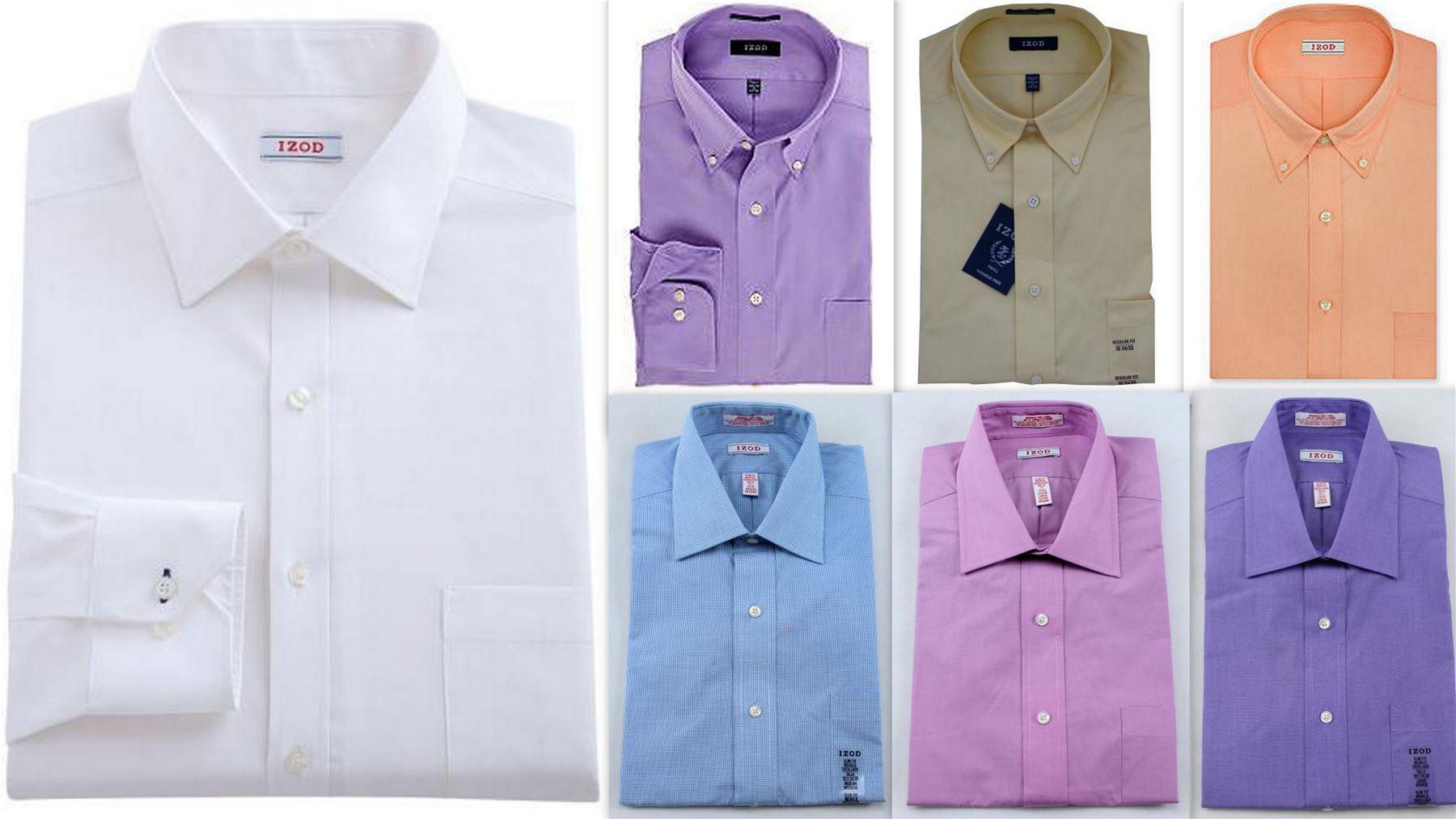 Mens Dress Shirt Izod Slim Fit Cotton Rich Easycare Long Sleeve Ebay