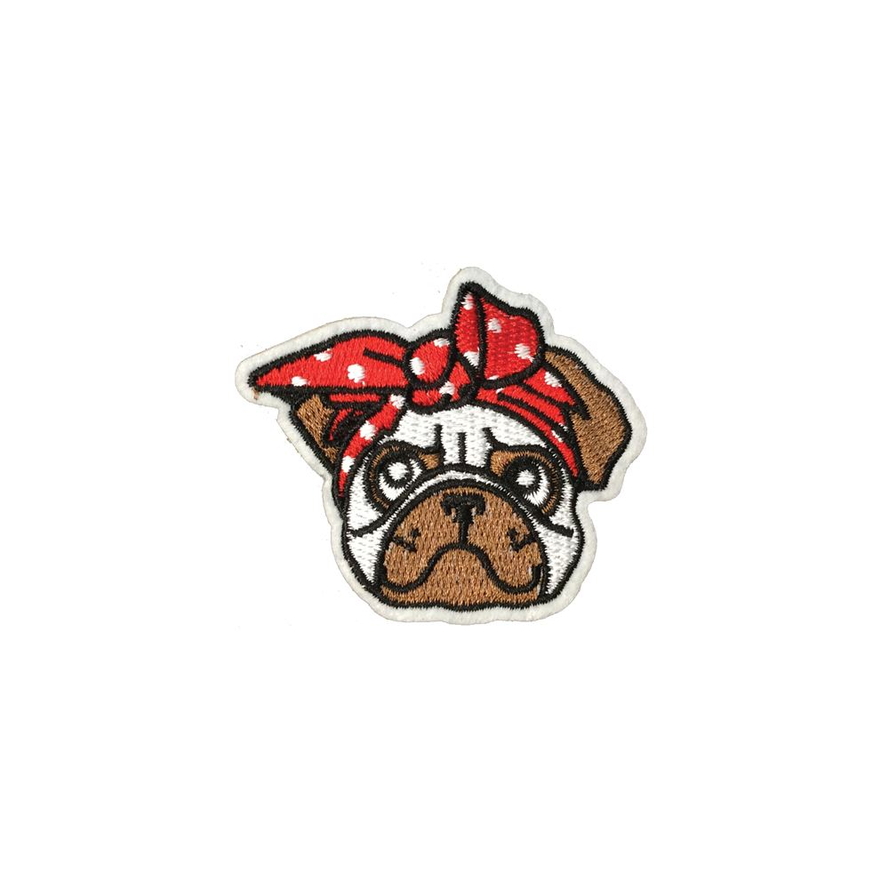 Bulldog Angry Dog Embroidery Iron On or Sew On Applique Patch