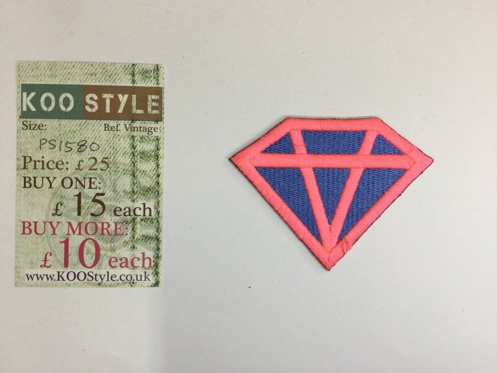 Blue diamond pink lines iron on embroidery applique patch sew iron