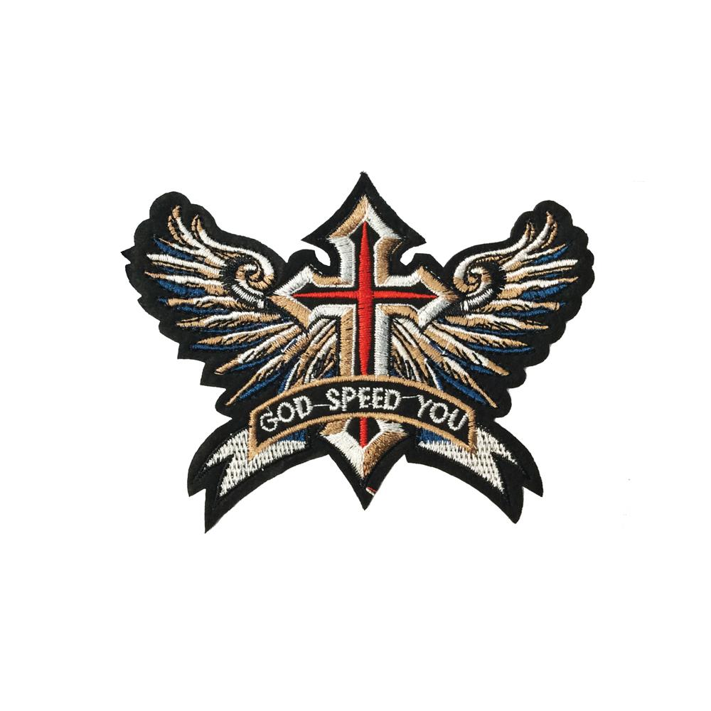 """God Speed Patch 6/"""" Embroidered Cross Wings Iron on Sew On FAST SHIPPING"""