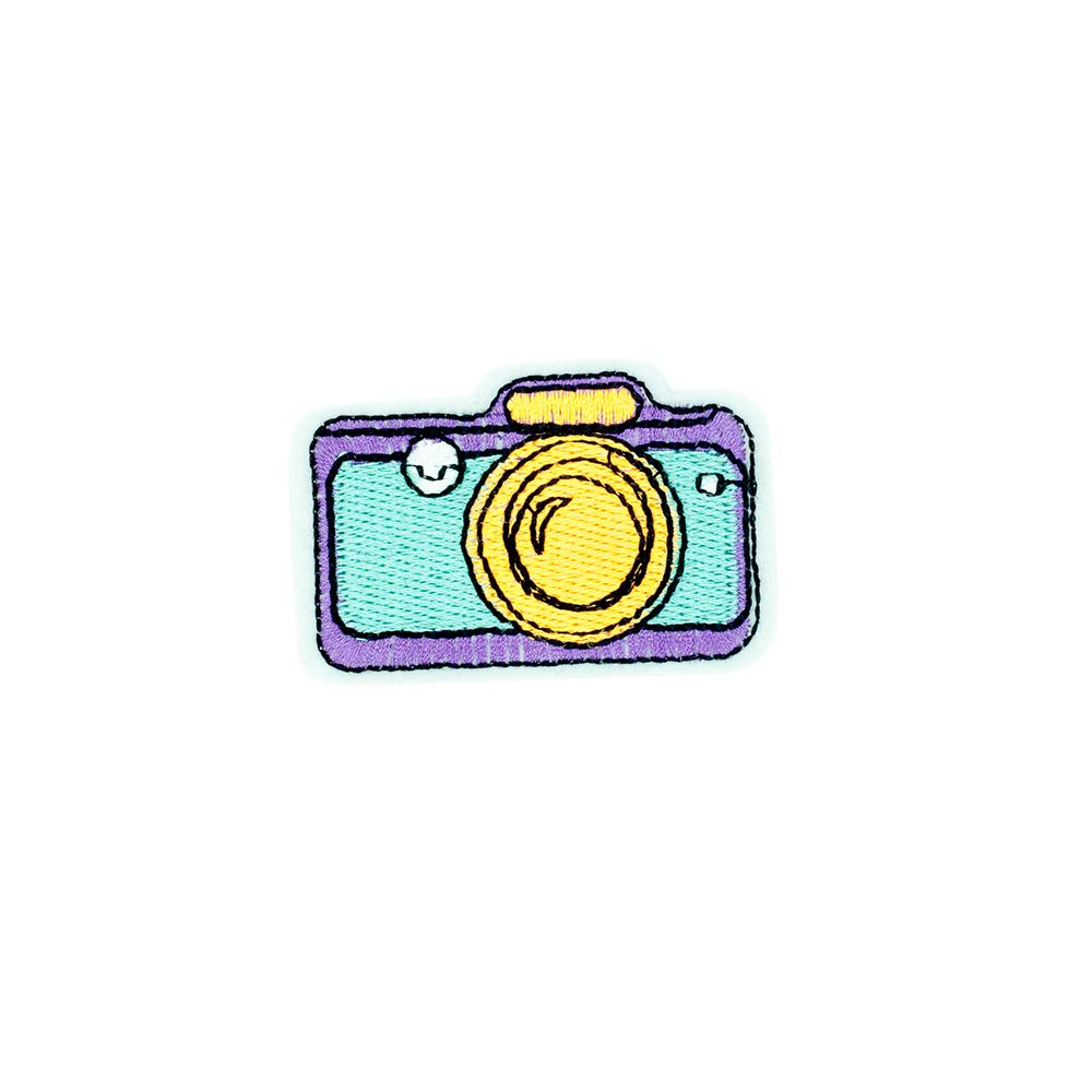 Iron on No Camera Photo Badge Embroidery Applique Patch Sew Iron Badge