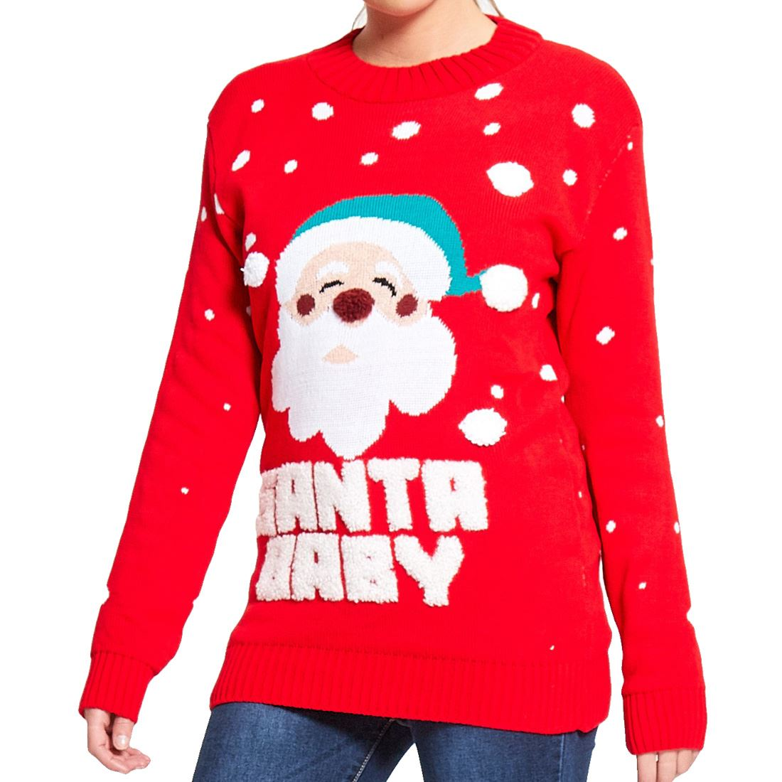 Ladies-Womens-Santa-Baby-Chritmas-Novelty-Knitted-Christmas-Jumper-Sweater-Top