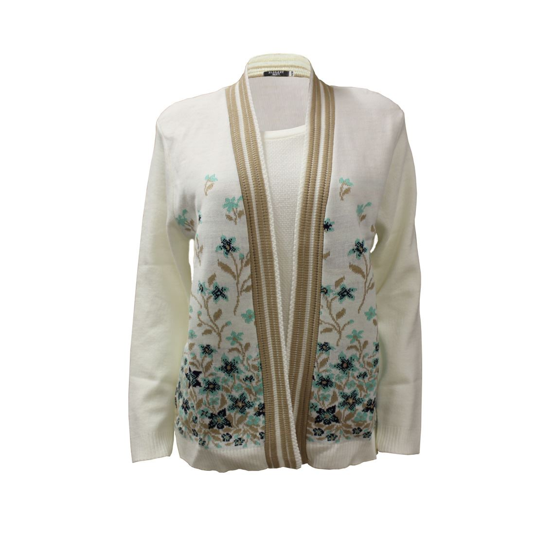 Womens-Ladies-New-Floral-Knitted-Twin-Set-inserted-Cardigan-Sweater-Jumper-Top