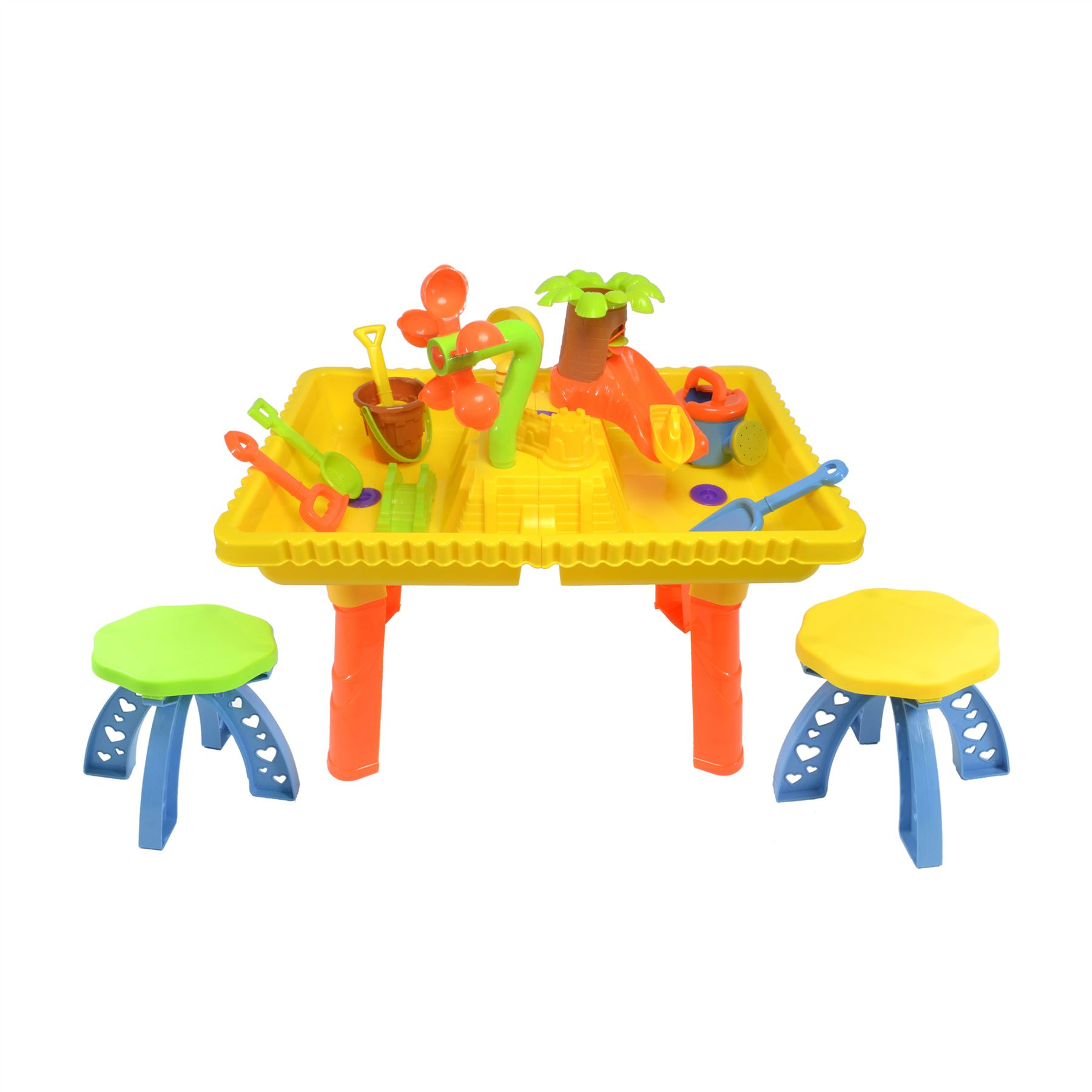Castle Sand and Water Table set with 2 seats and 10 pieces 9809 8