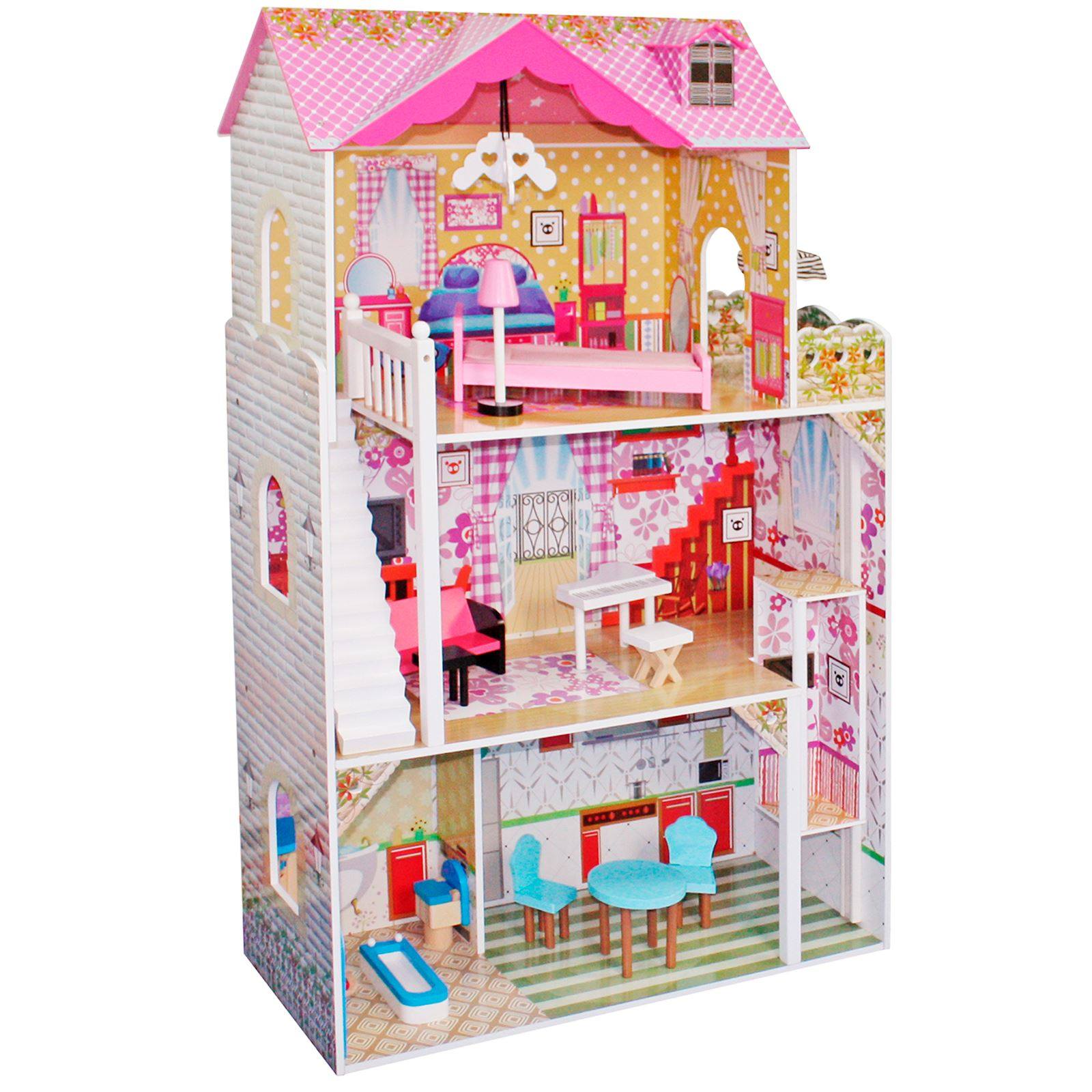 Boppi toy wooden girls dolls house 3 storey town barbie for Piani di casa pre progettati