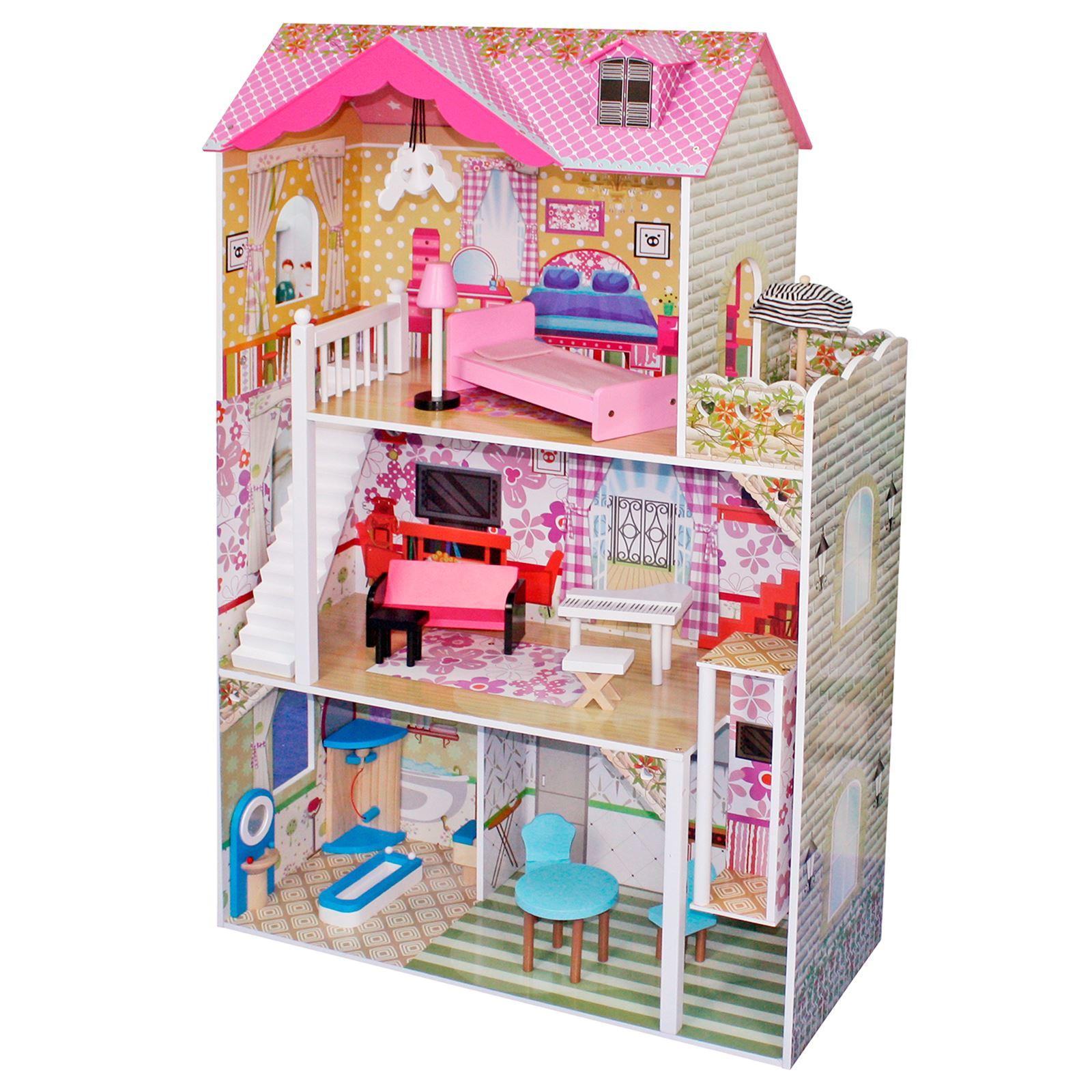 Boppi giocattolo di legno bambine casa delle bambole 3 for Piano casa delle bambole vittoriana