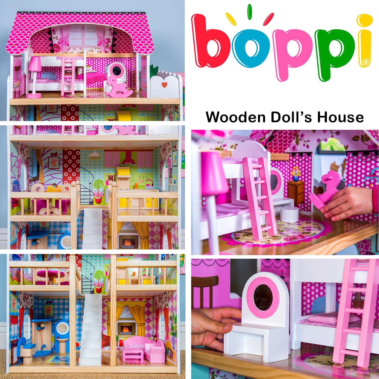 Boppi giocattolo legno ragazze casa delle bambole 3 piano for Piano casa delle bambole vittoriana