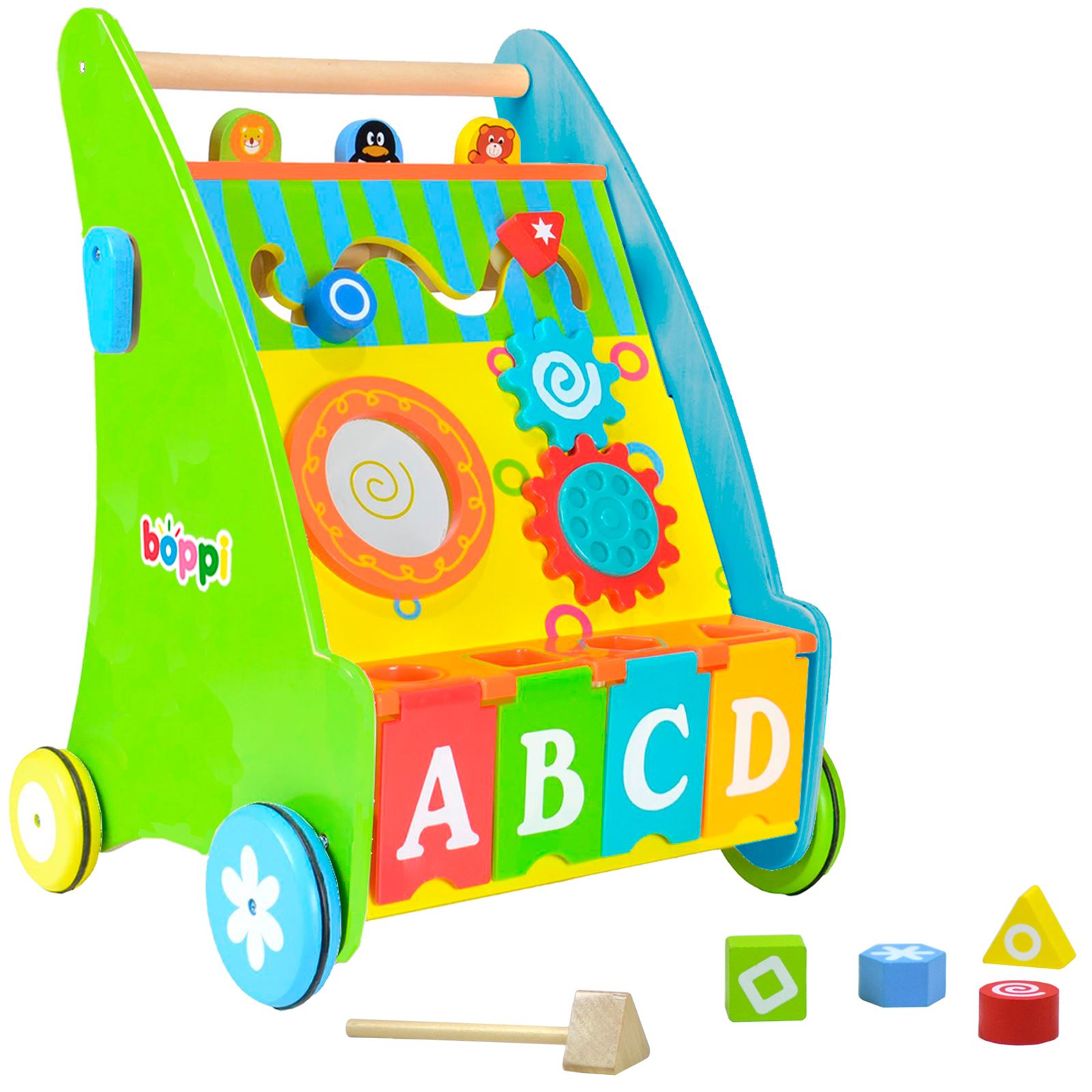 boppi Wooden Push Along Activity Walker for Babies & Toddlers