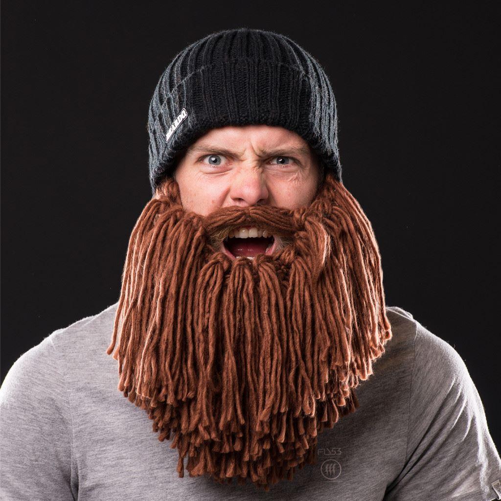 8c9f75a9926 Detalhes sobre Beardo - Viking Style - Black Hat Brown Beard Adult Beard  Hat Beanie Face Warmer
