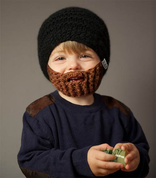 Beardo Kids - Black with Brown beard - Bearded Hat Childrens Warm ... 91cd88eaee9