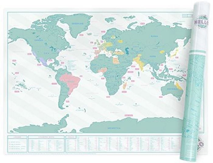 Scratch map home edition poster luckies personal travel log gift by a world map poster with removable foil surface to create a personalized record of your adventures color the world in bright neon as you travel and learn gumiabroncs Images