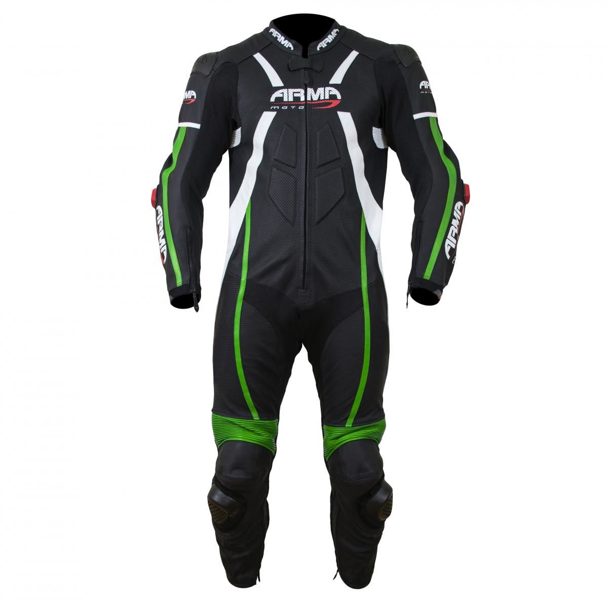 dfb40559402 Details about ARMR Harada R Mens Leather Race Suit - Black/Green
