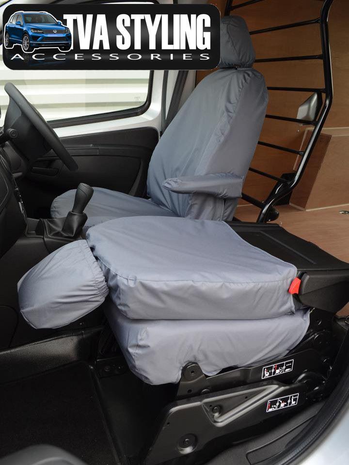 PEUGEOT BOXER NEW SHAPE Heavy Duty Grey Van Seat Covers 100/% Waterproof
