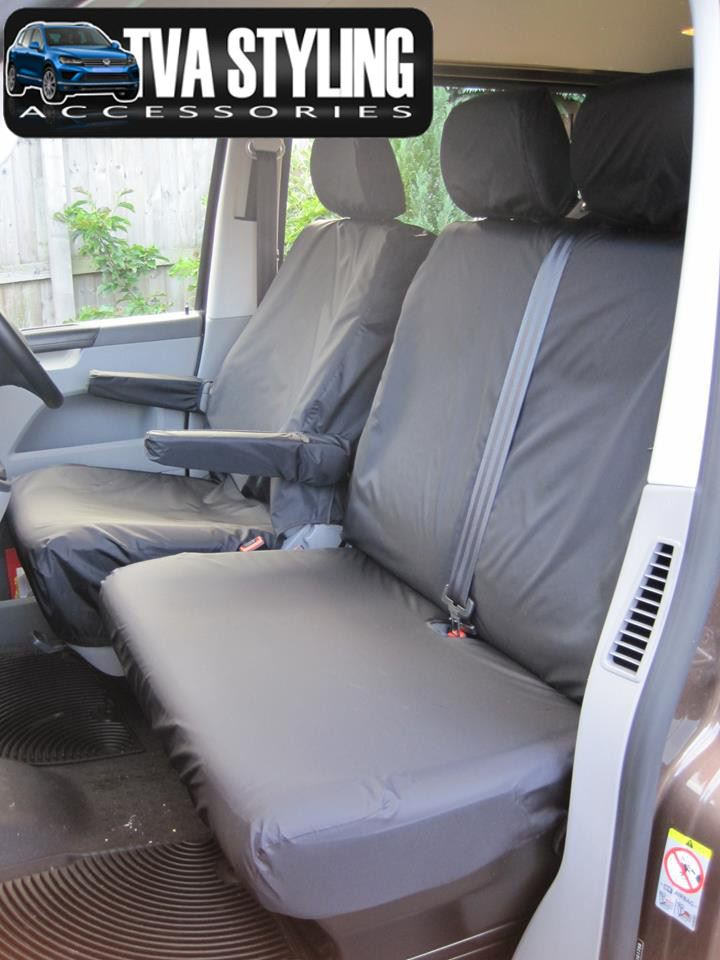 VW Transporter T5 2003-09 Black Tailored /& Waterproof Front Seat Covers