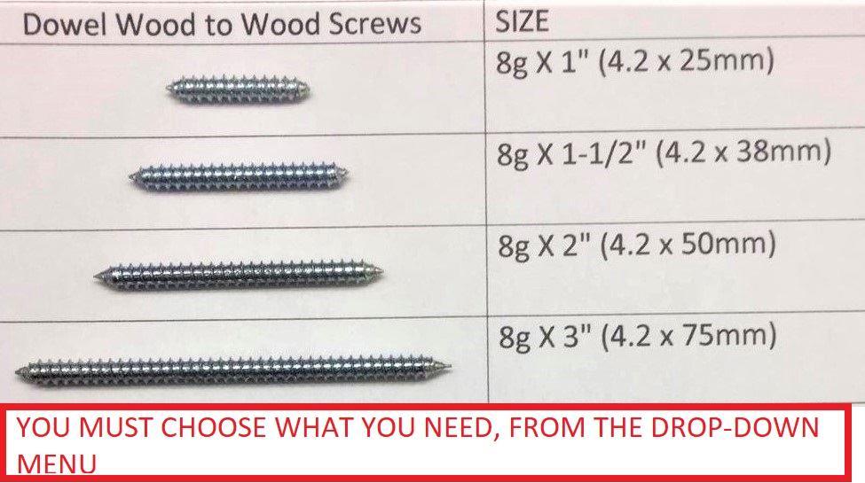 """75 TO 300 PACKS DOWEL WOOD TO WOOD SCREWS DOUBLE ENDED SCREWS 1/"""",1.5/"""",2/"""",3/""""x10g"""