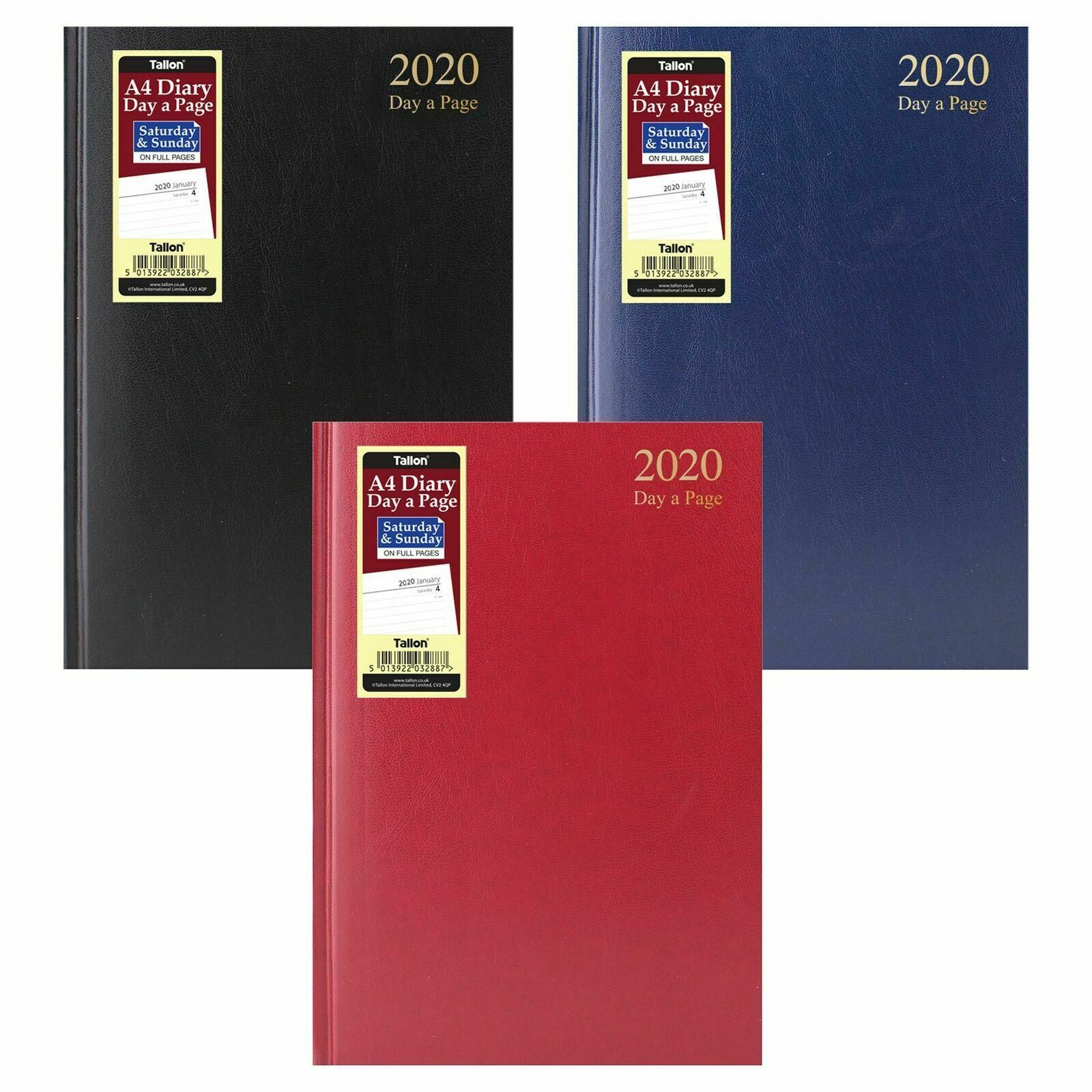 2018 A5 Day per page Hardback Office Desk diary Full Pages for Saturday /& Sunday