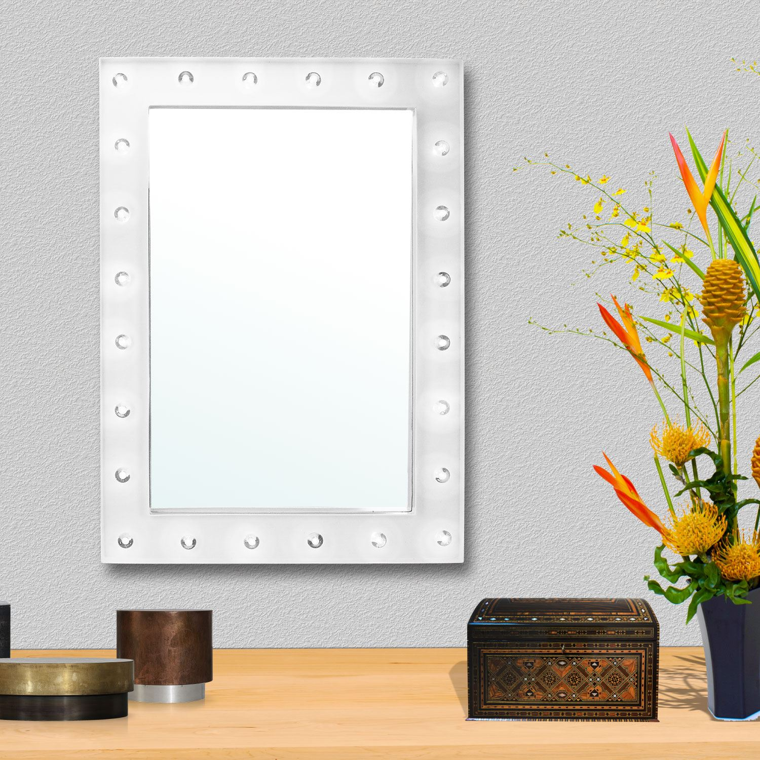 Led Light Wall Mounted Makeup Mirror: Large Vanity Mirror With Light Hollywood Makeup Mirror