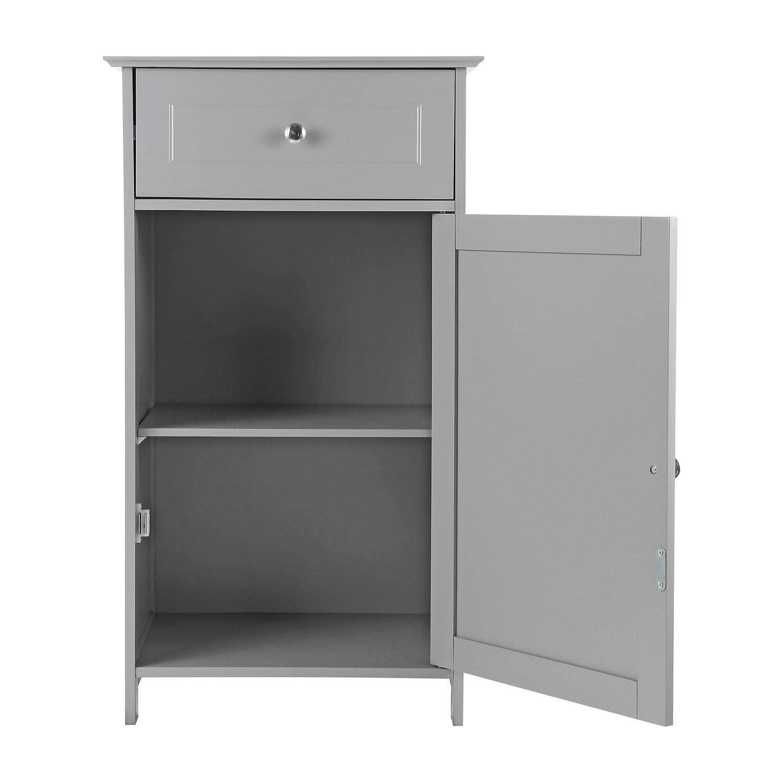 Grey-Wooden-Bathroom-Cabinet-Shelf-Cupboard-Bedroom-Storage-Unit-Free-Standing thumbnail 7