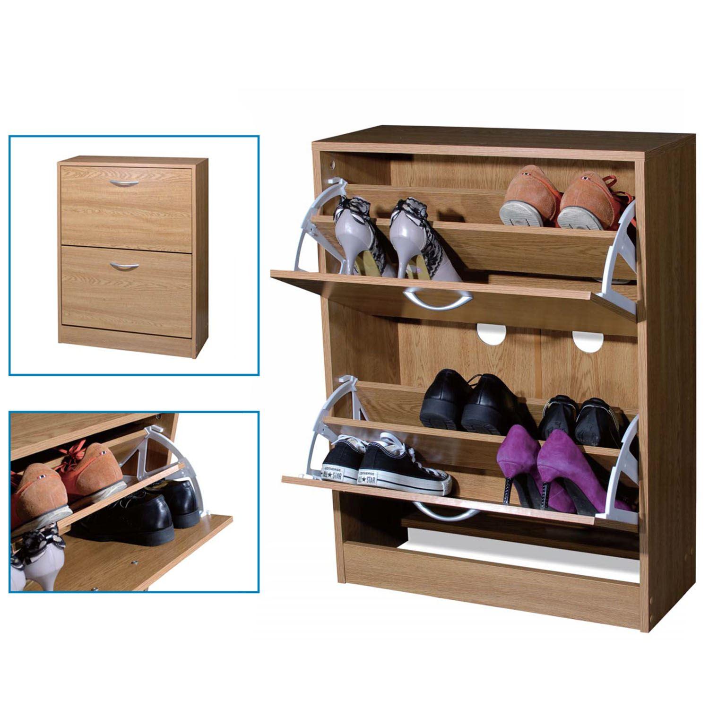2 Drawer Shoe Storage Cabinet Cupboard Wooden Furniture Footwear Stand Rack Unit Ebay
