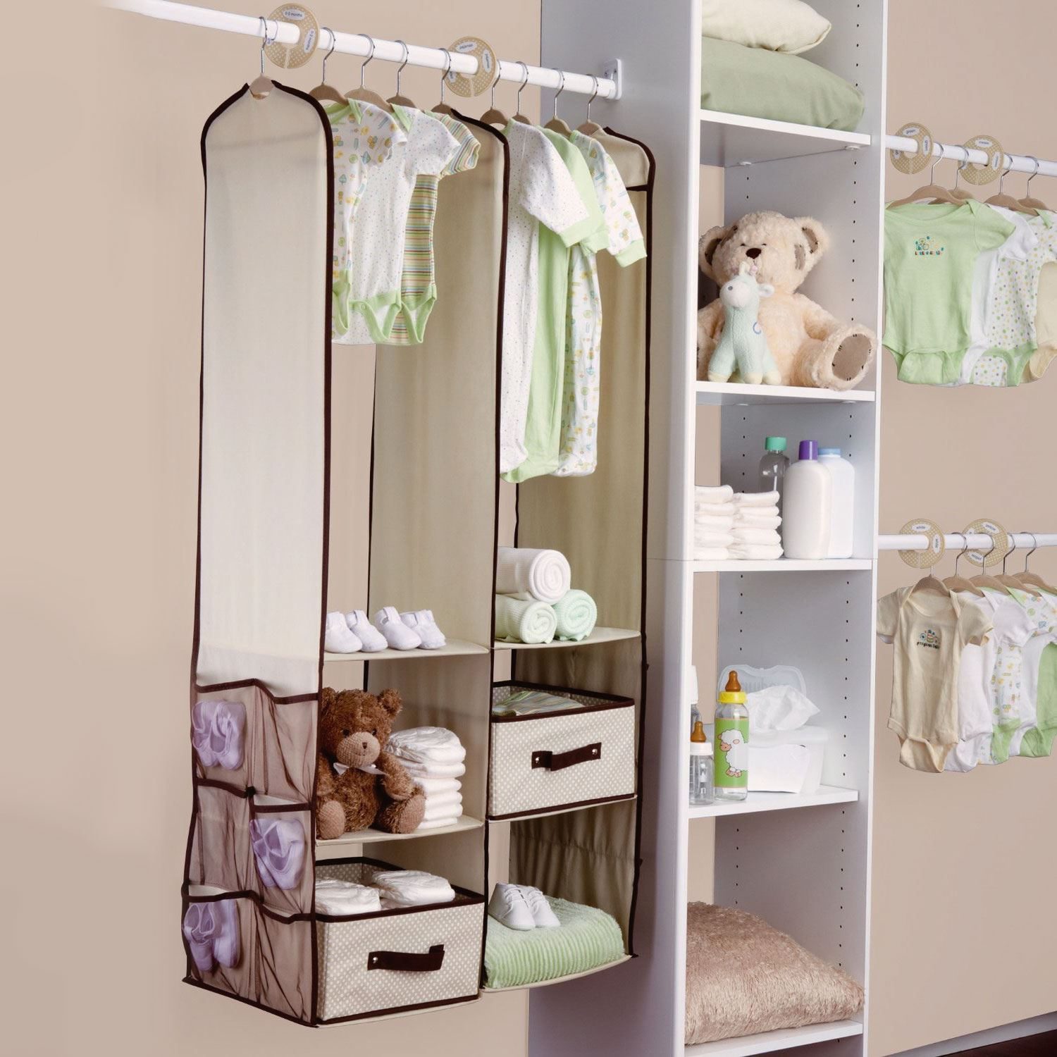 24pc Childrens Kids Baby Nursery Closet Organiser Hanging