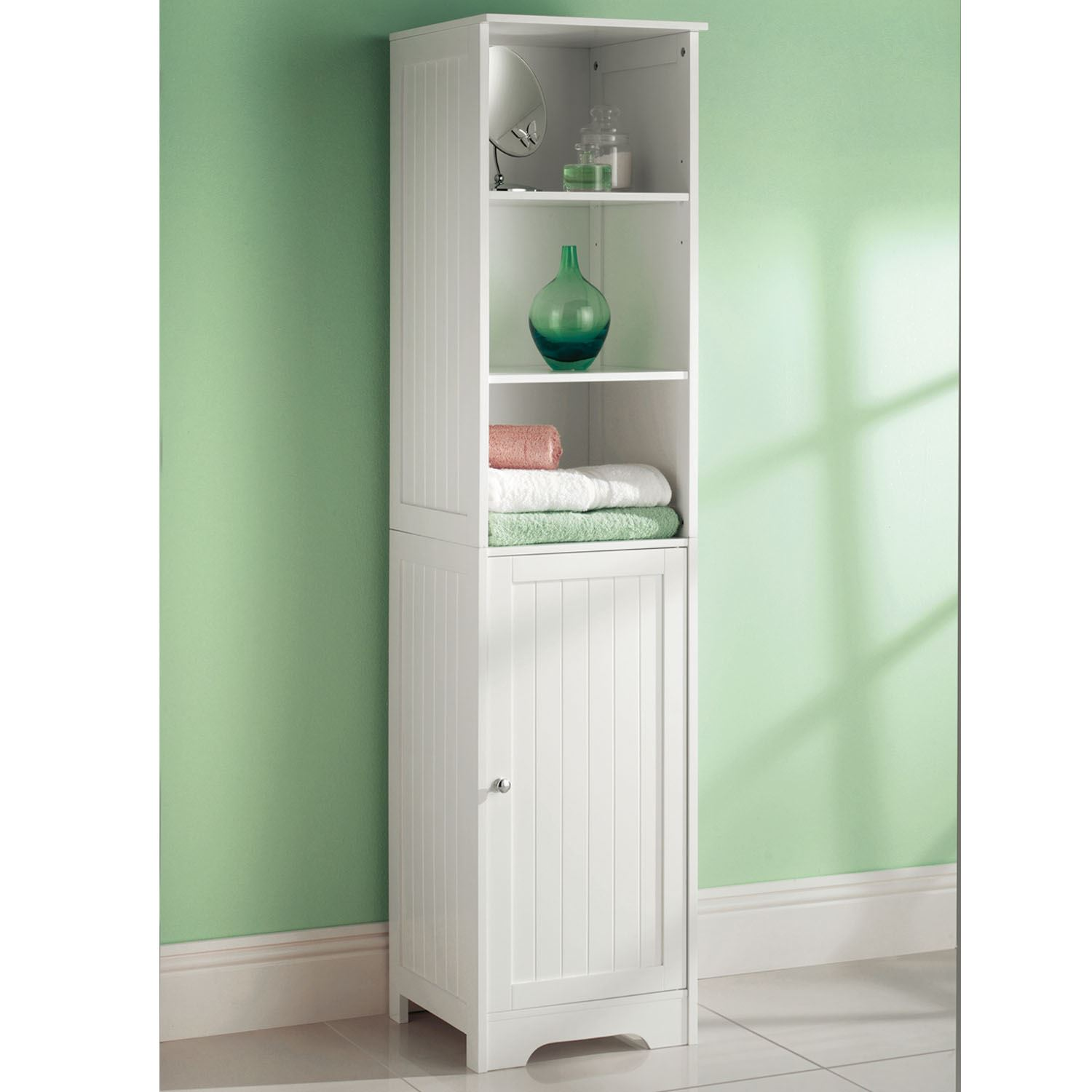 White Wooden Tall Boy Bathroom Cabinet Shelf Cupboard Storage Unit