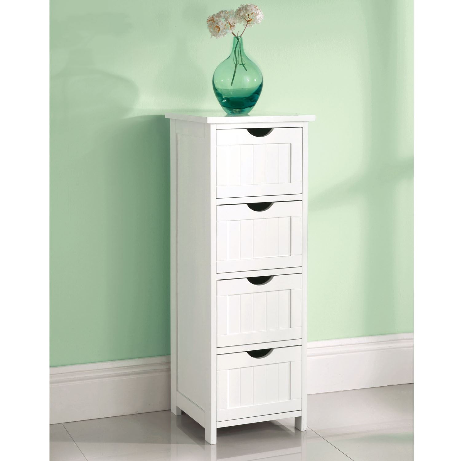 Top Home Solutions 4 Drawer White Wooden Bathroom Cabinet Cupboard ...