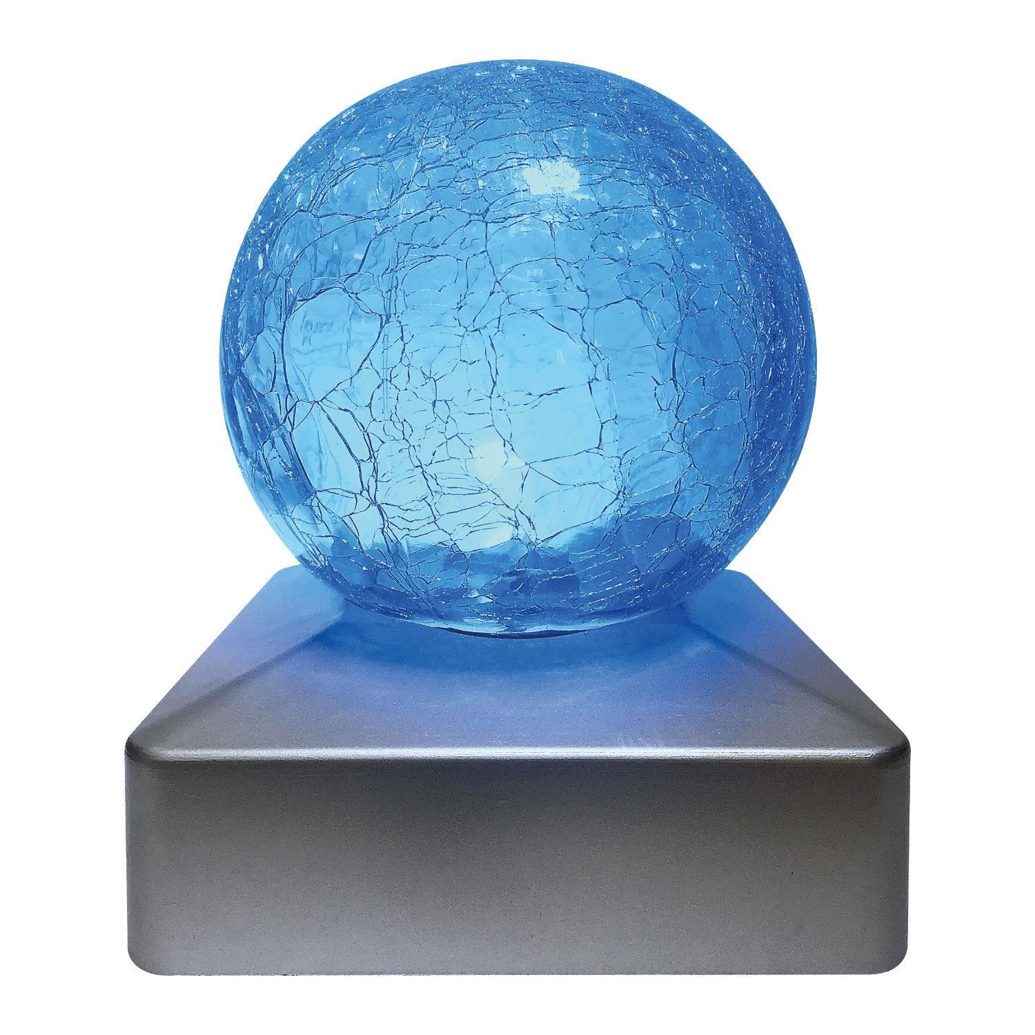 Solar Crackle Glass Ball Garden Post Deck Cap Light Square