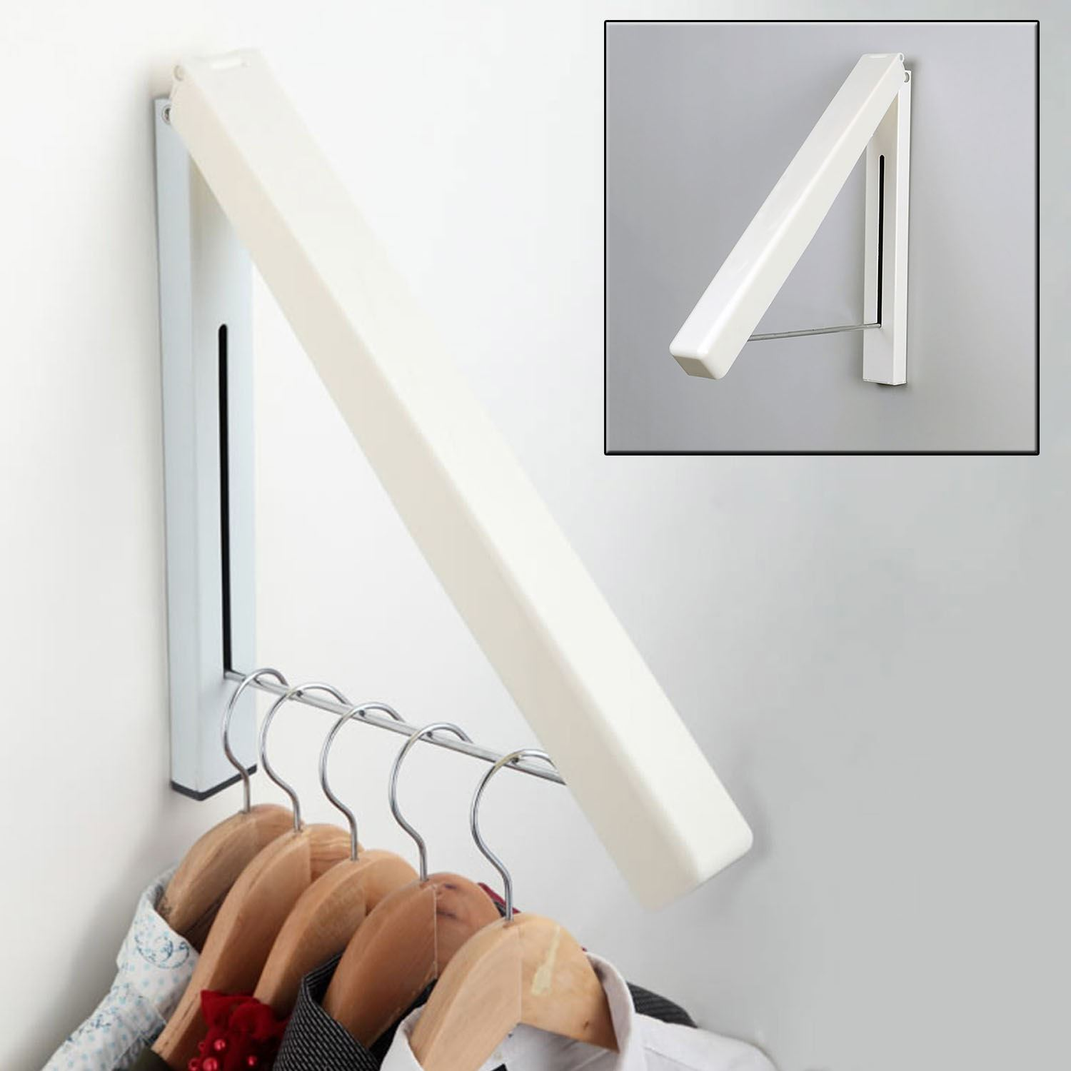 Wall Mounted Retractable Laundry Clothes Hanger Rail Rack Storage Organiser