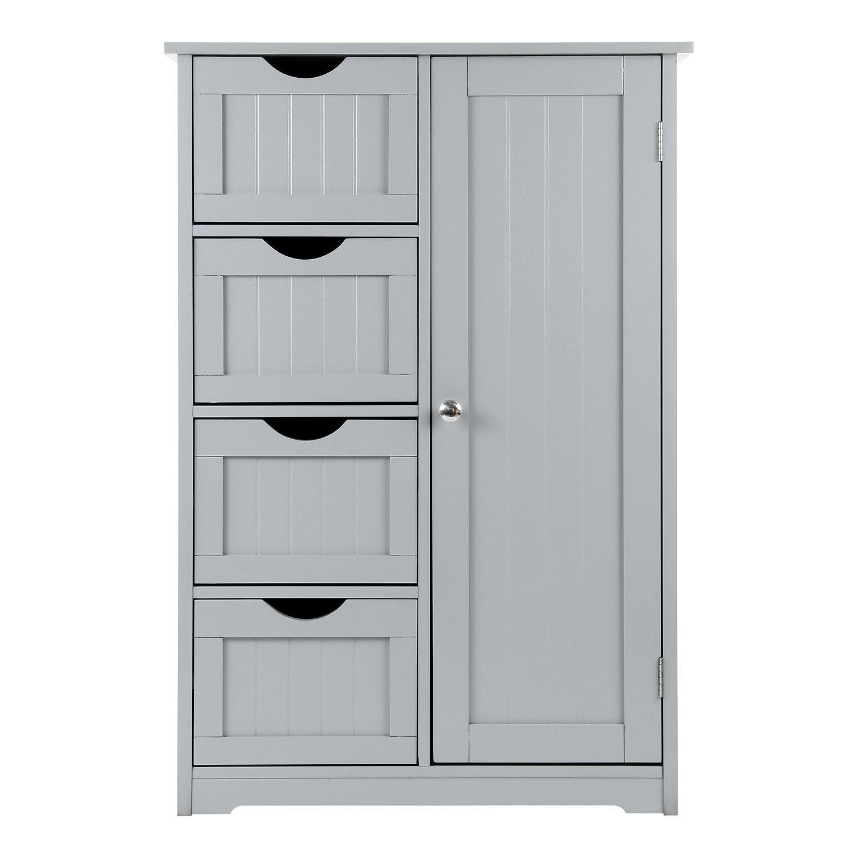 Grey-Wooden-Bathroom-Cabinet-Shelf-Cupboard-Bedroom-Storage-Unit-Free-Standing thumbnail 29