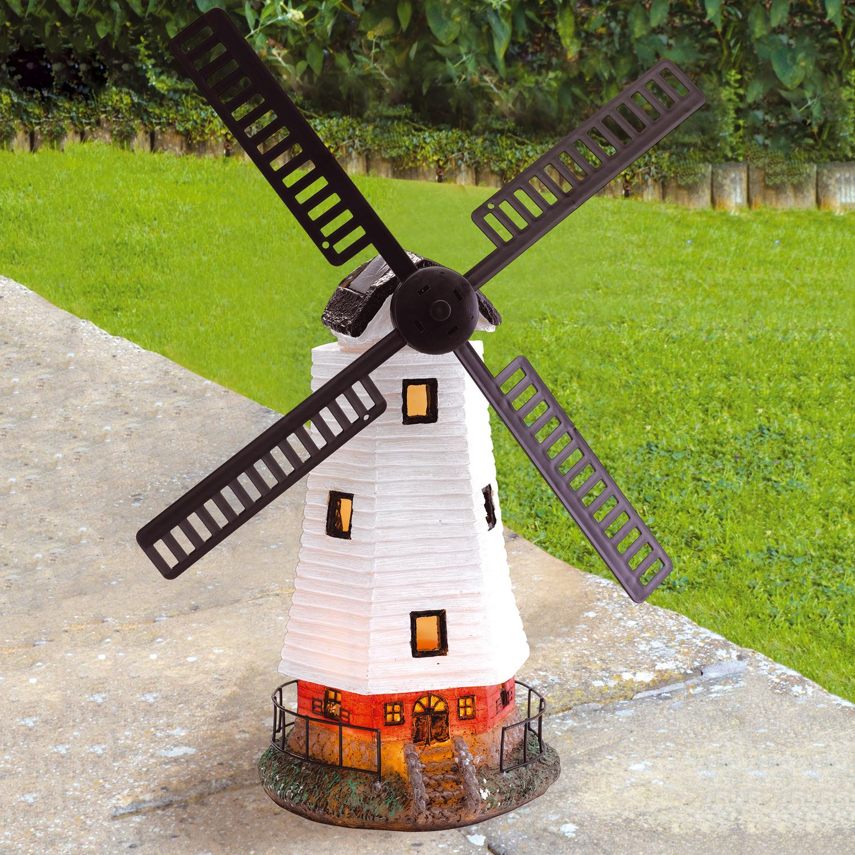 Solar Powered Light Up Traditional Garden Windmill Decorative ...