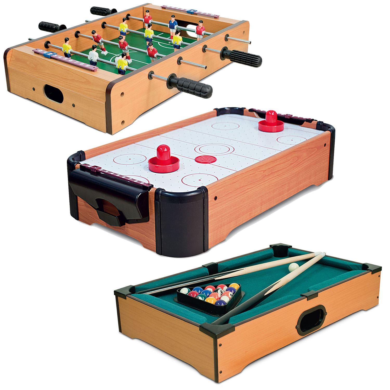 Mini Table Top Air Hockey Football Pool Game Set Desktop Arcade Toy - Used mini pool table
