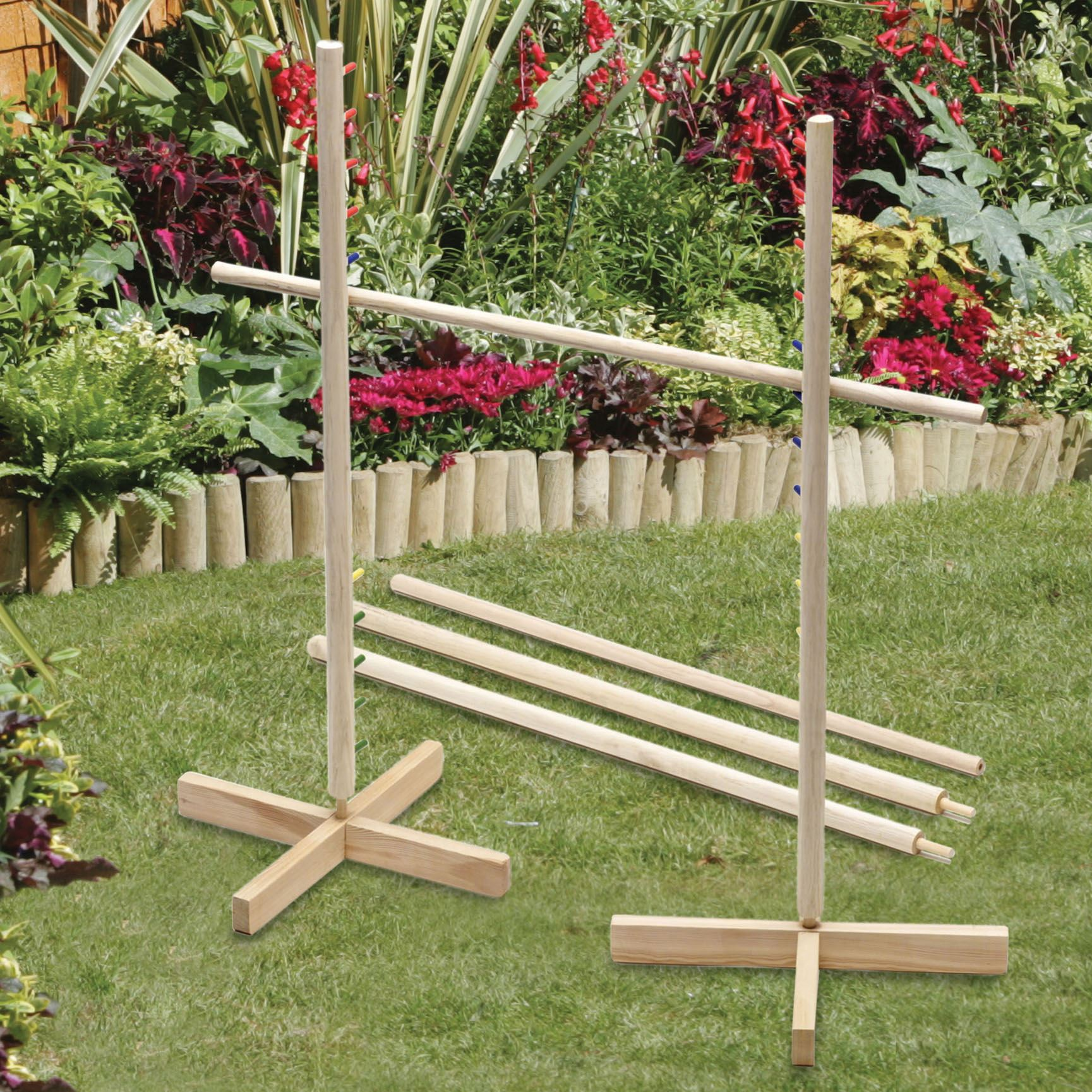 1 7m Wooden Limbo Set Pole Bar Kids Adults Family Garden Party Fun