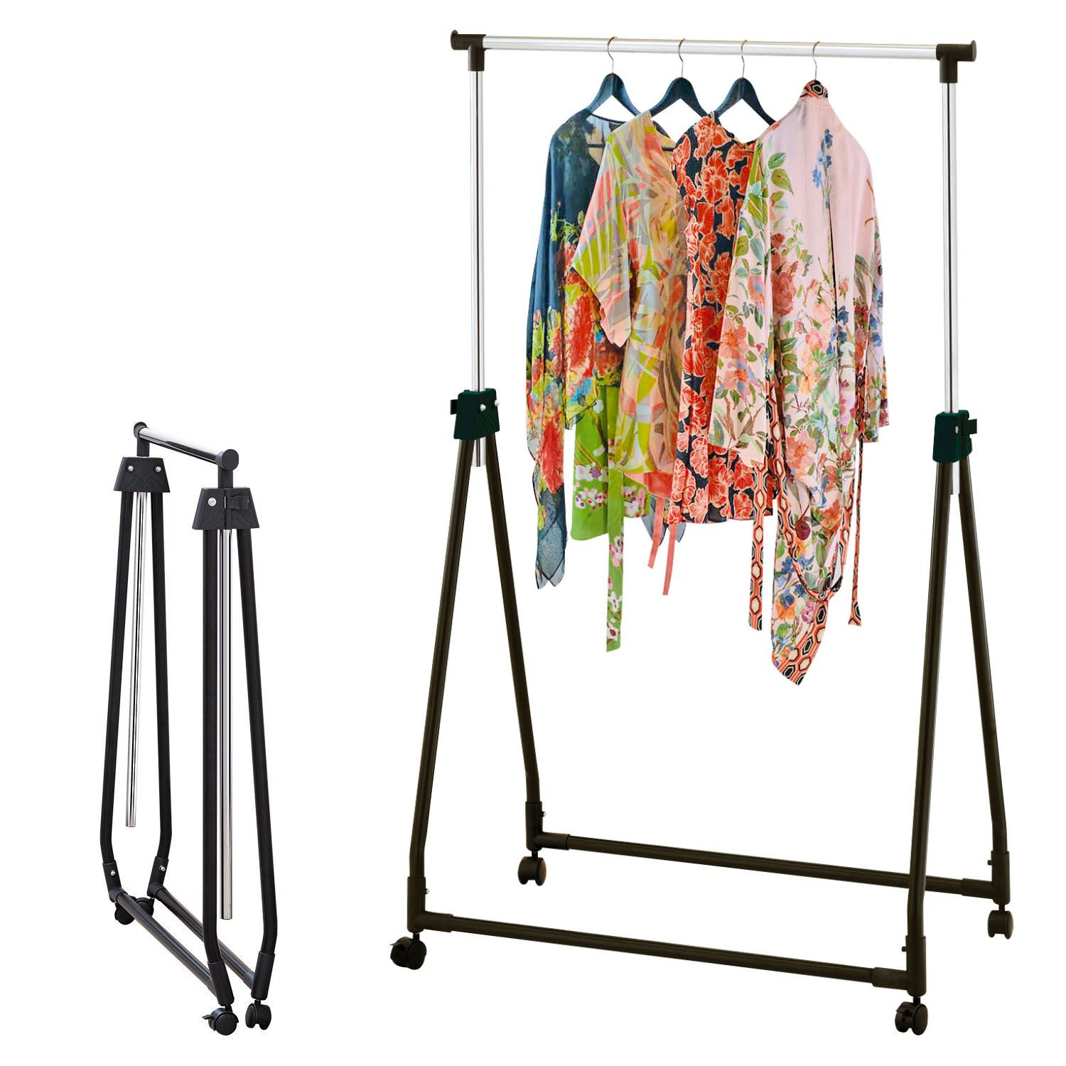 Chrome Black Portable Collapsible Clothes Hanging Rail Adjustable