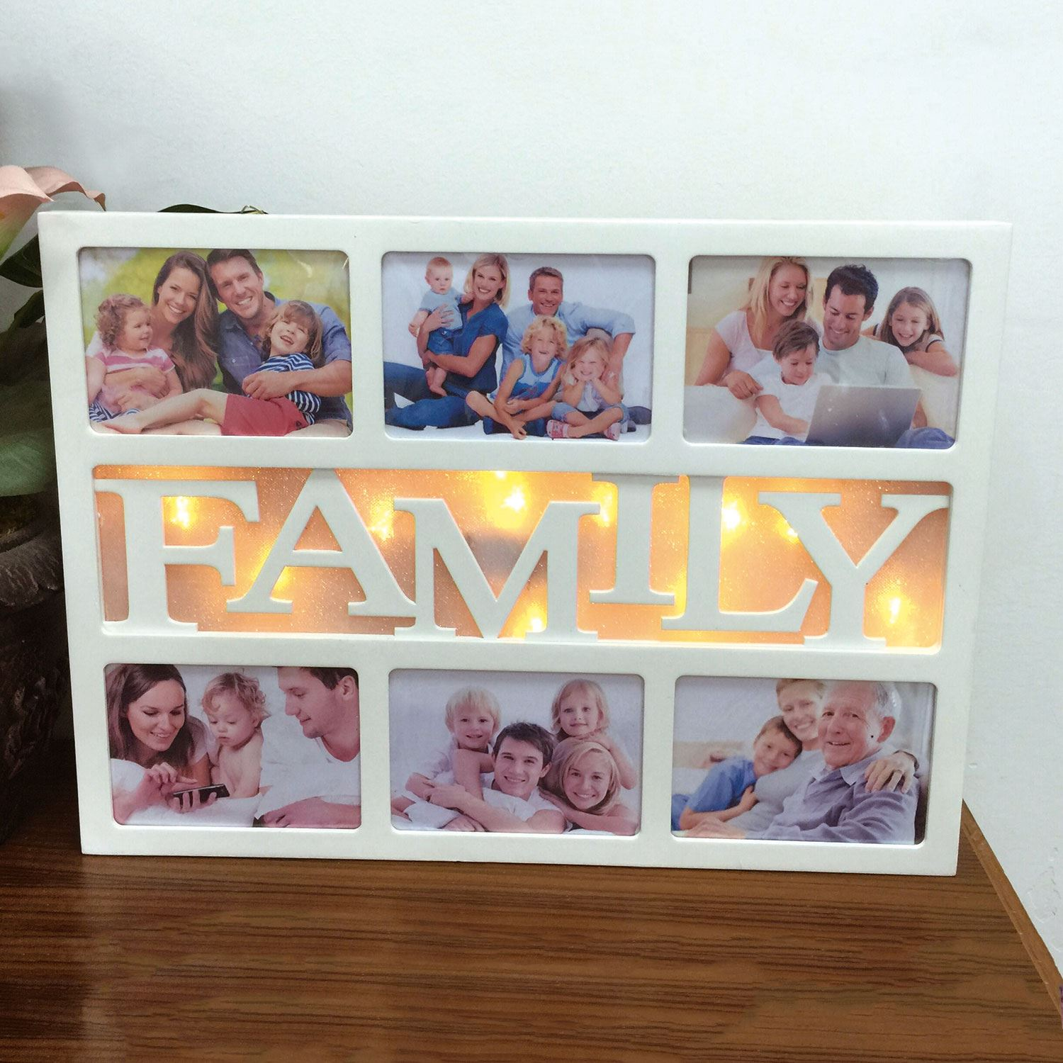 10 LED Warm White HOME LOVE FAMILY Multi Photo Frame Christmas Xmas ...