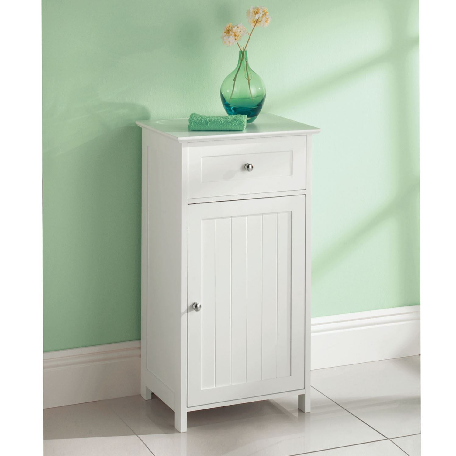 White Wooden Bathroom Cabinet Cupboard 1 Door 1 Drawer Freestanding ...
