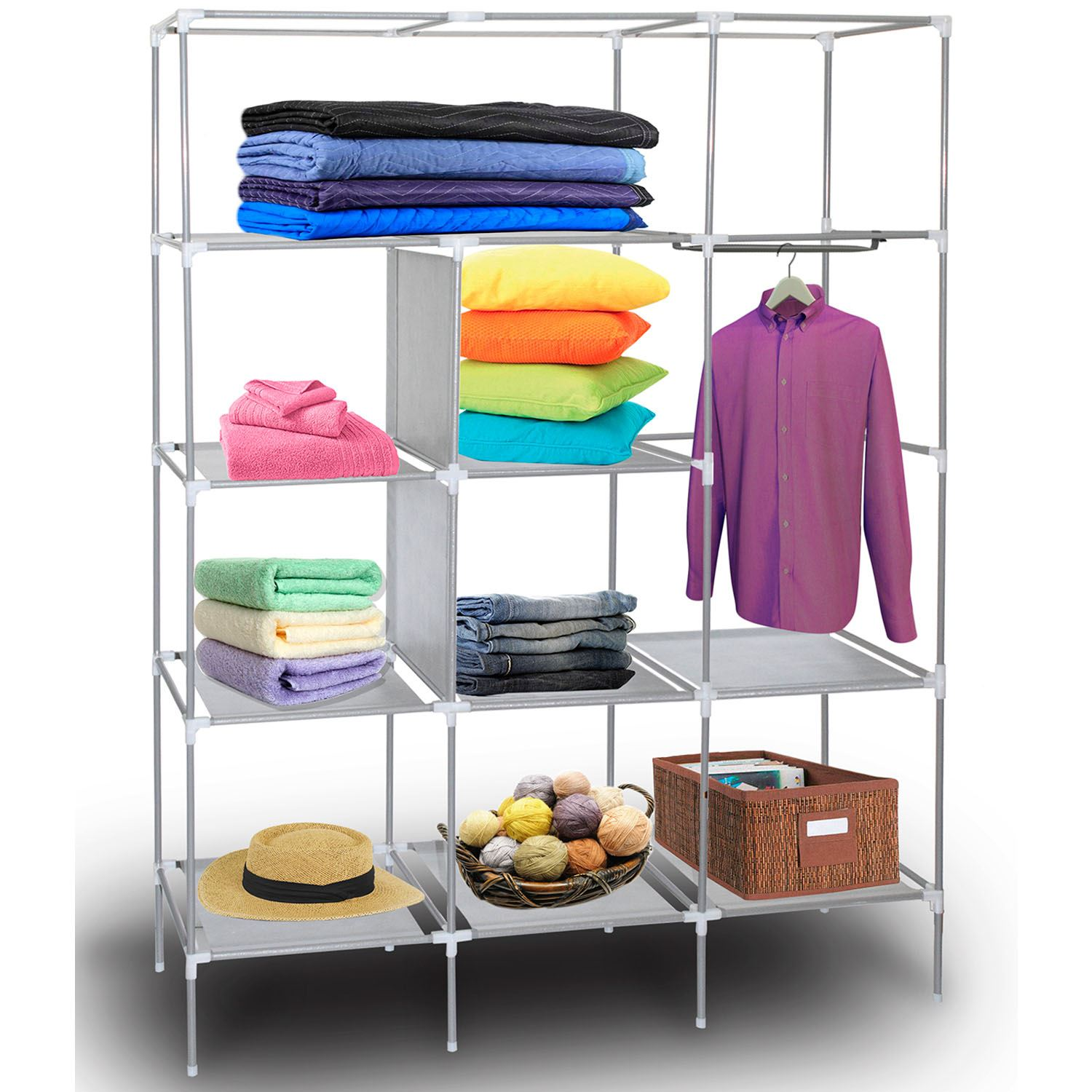 69-034-Portable-Closet-Storage-Organizer-Clothes-Wardrobe-Shoe-Rack-with-Shelves