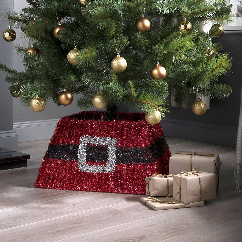 Red Tinsel Festive Christmas Xmas Tree Skirt Decor Stand Cover Santa Belt Ebay