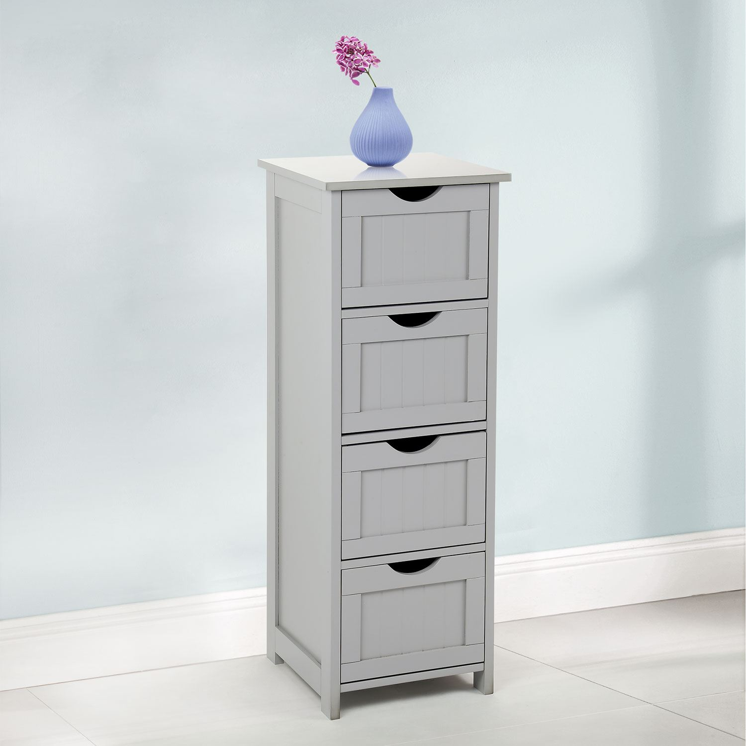 Grey Wooden Large 4 Drawer Free Standing Bathroom Cabinet