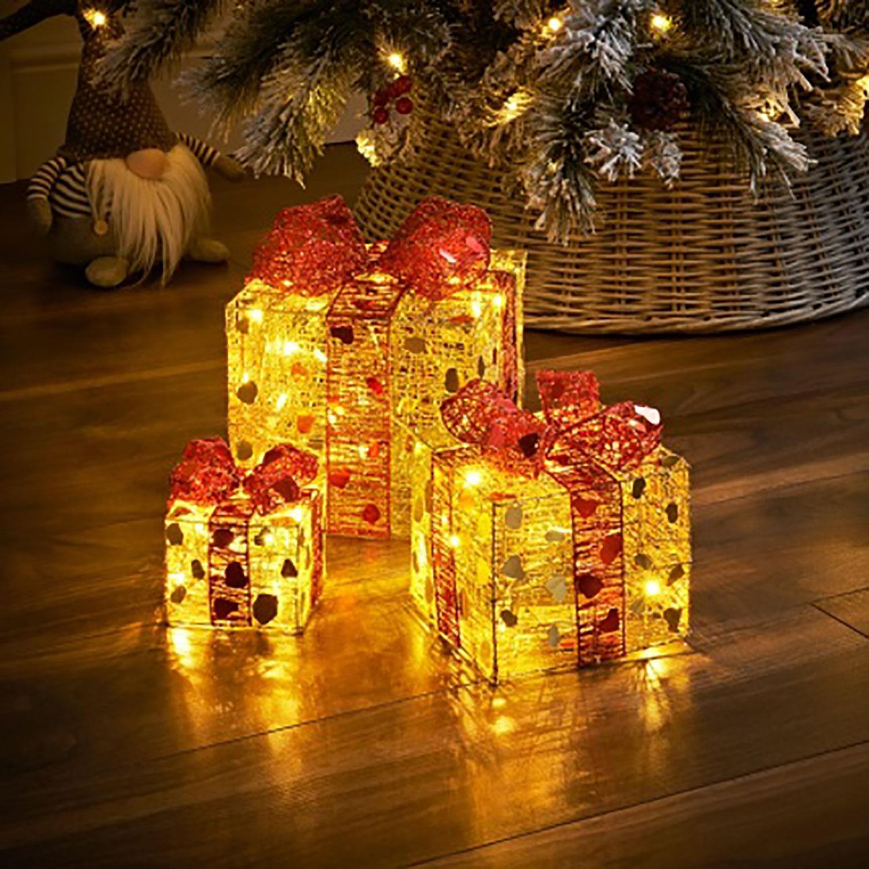 Set Of 3 Led Light Up Festive Xmas Christmas Gift Parcel Box Set Decoration Ebay