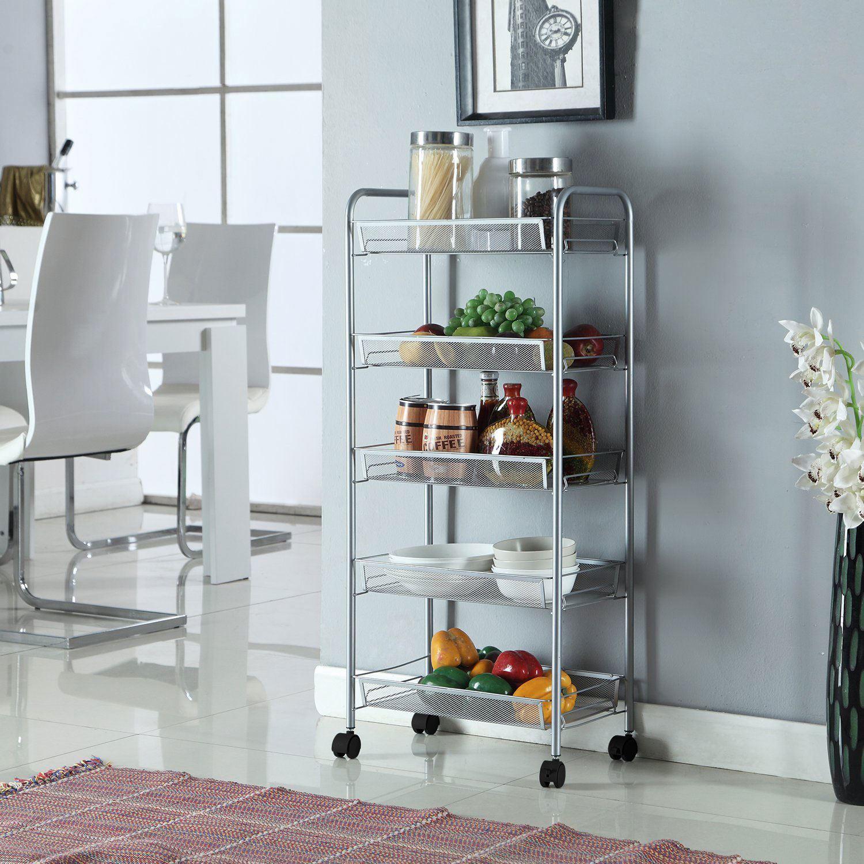 3/4/5 Tier Metal Kitchen Trolley Storage Shelving Rack Cart Office ...