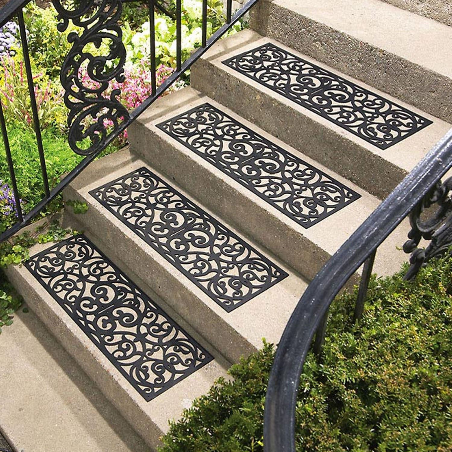 Set Of 4 Outdoor Rubber Stair Treads Non Slip Anti Trip