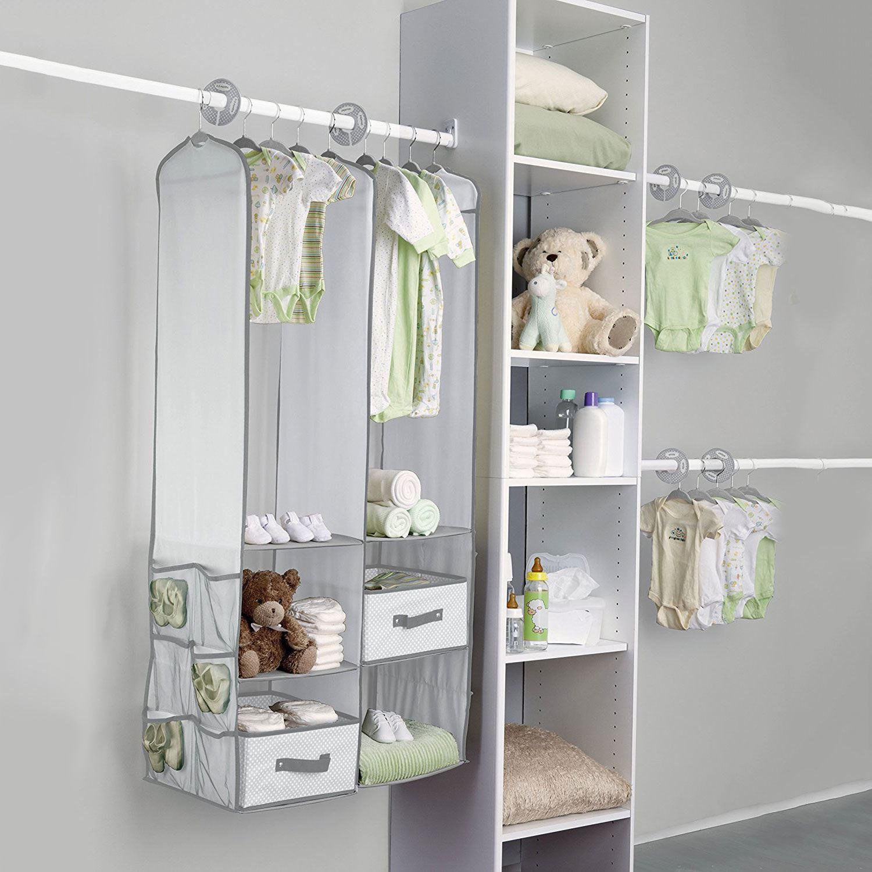 itm wardrobe rack shelf closet organizer baby nursery clothes children kids hanging