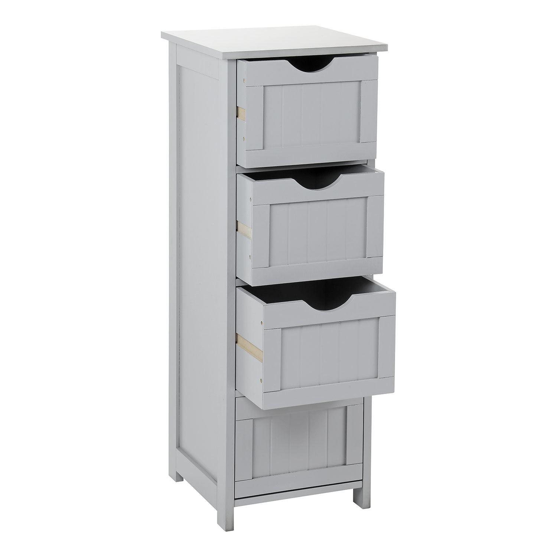 Grey Wooden Bathroom Cabinet Shelf Cupboard Bedroom ...
