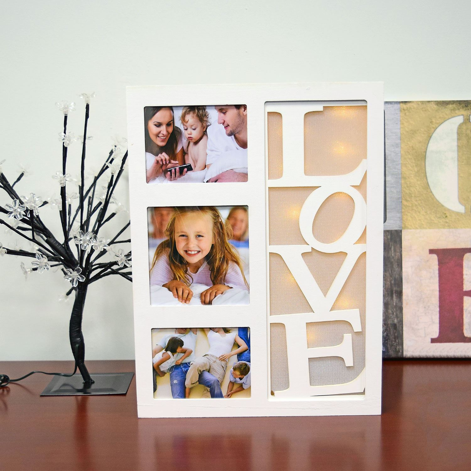 Warm White 10 LED Wooden LOVE Hme Family Multi Picture Photo Frame ...