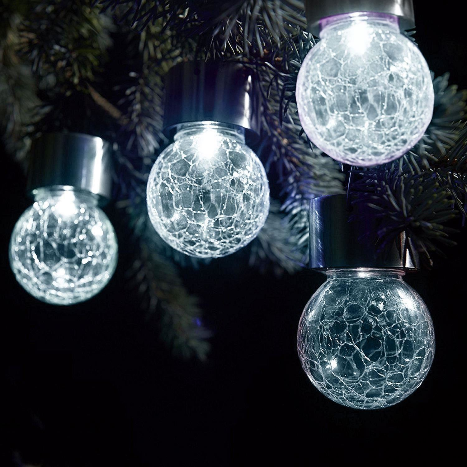 Outdoor Ball Lights Part - 20: Stainless-Steel-Solar-Powered-Hanging-Crackle-Globe-Ball-