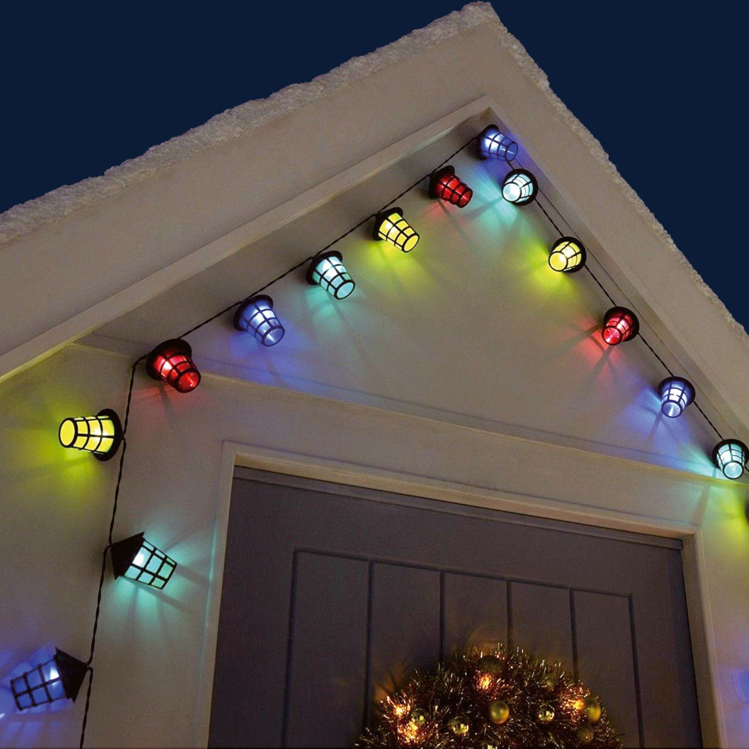 suitable for Indoor // Outdoor Barbecue Lights with Lantern Style Shade Party 40 Multi Coloured Christmas 11m Cable